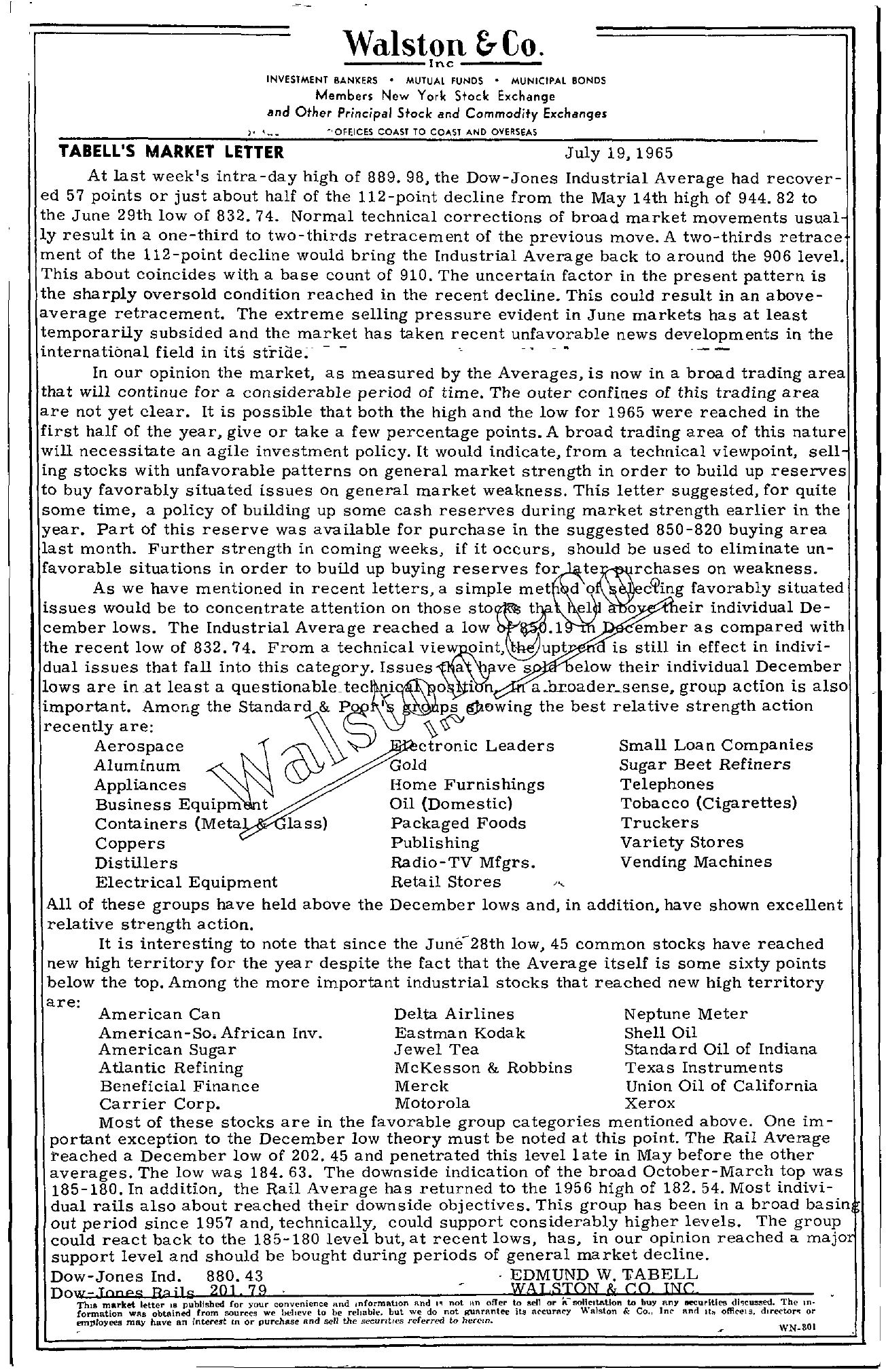 Tabell's Market Letter - July 19, 1965