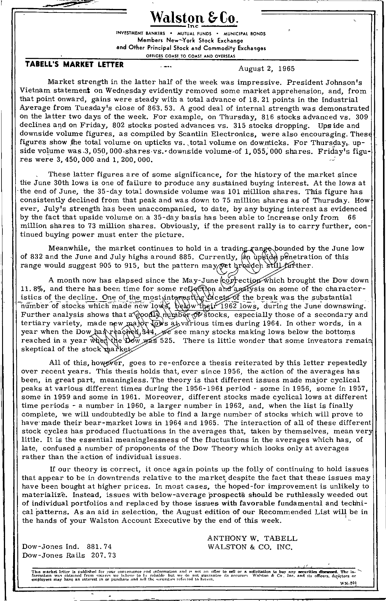 Tabell's Market Letter - August 02, 1965 page 1