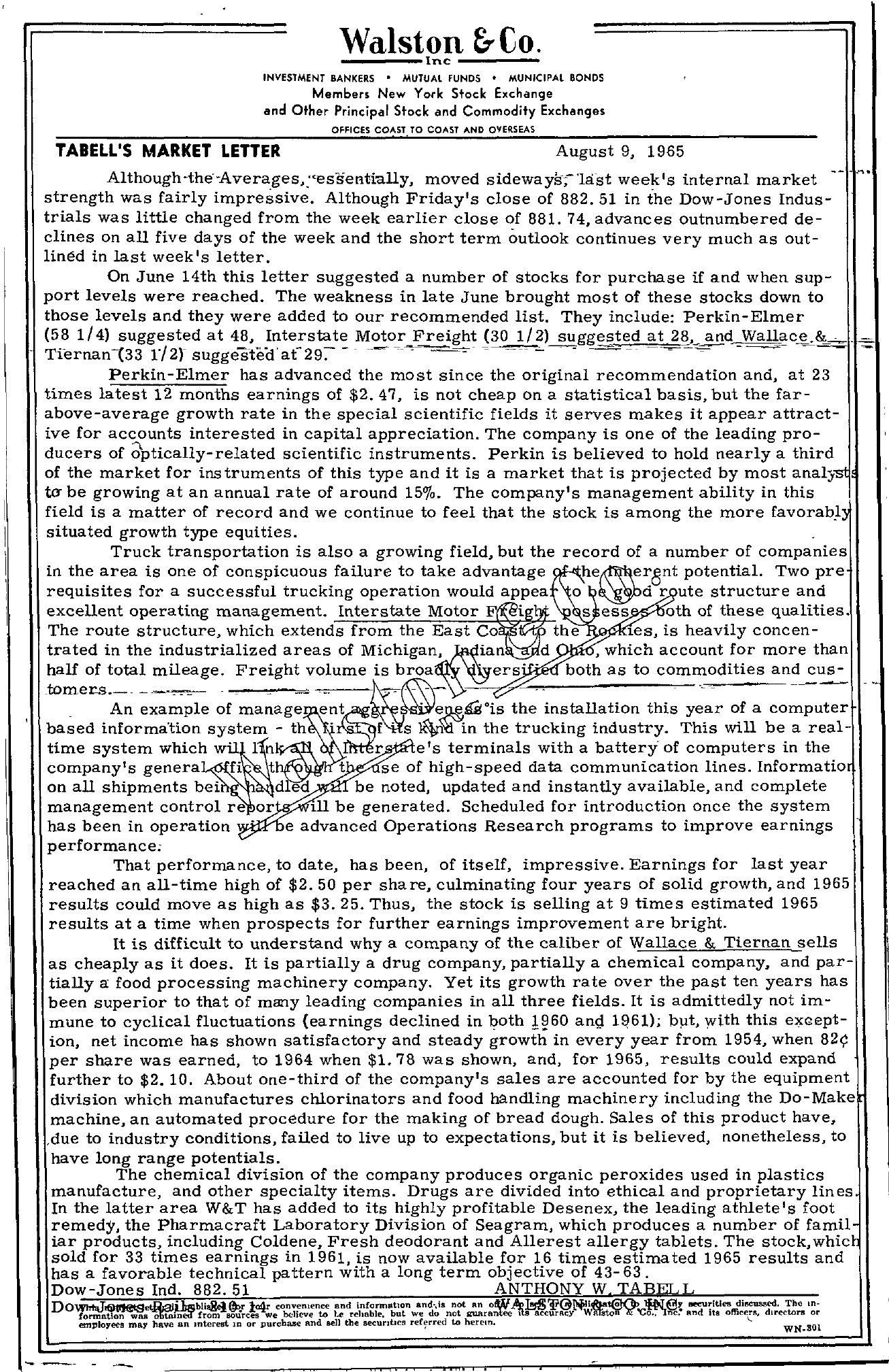 Tabell's Market Letter - August 09, 1965