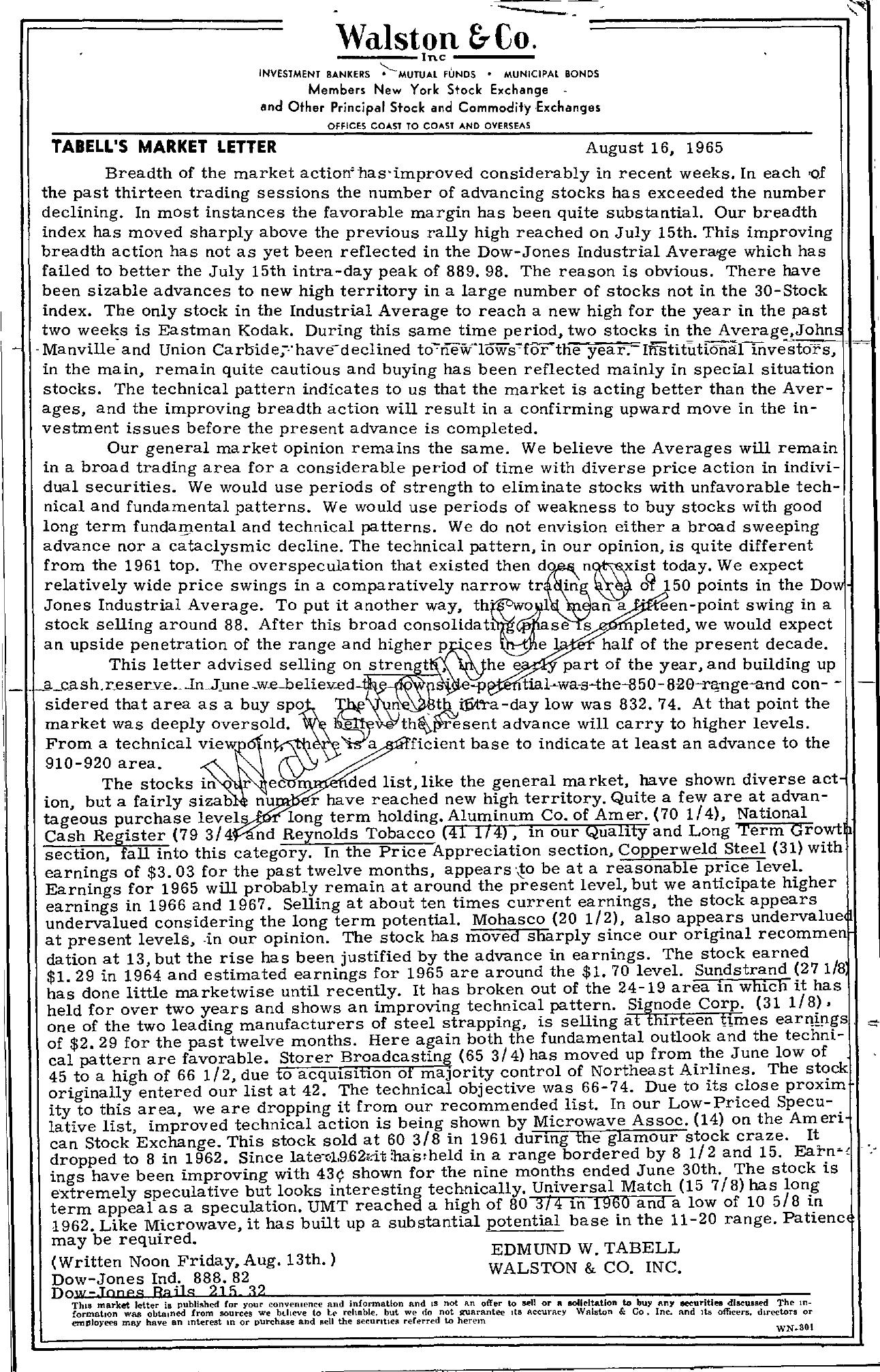 Tabell's Market Letter - August 16, 1965