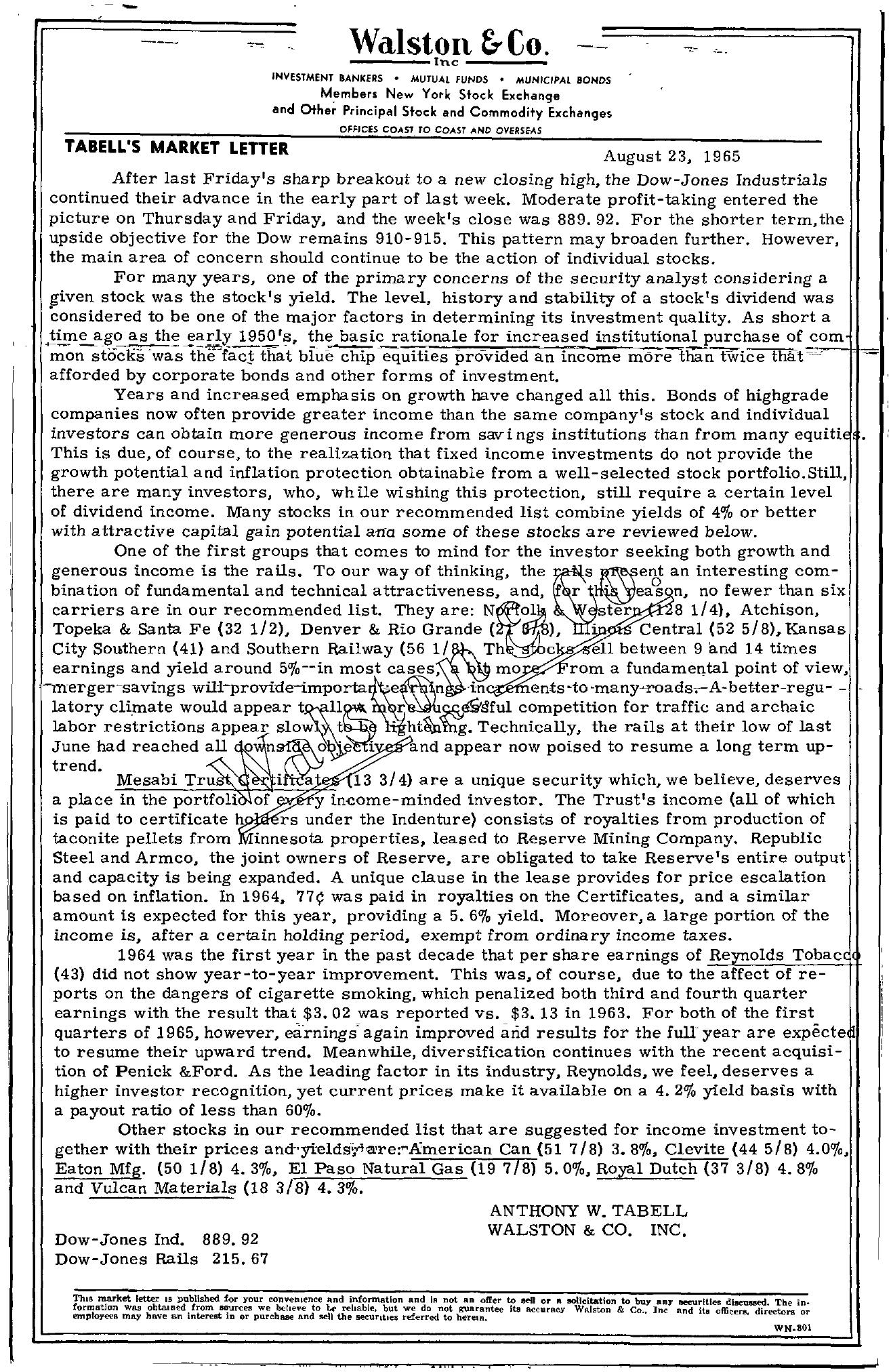 Tabell's Market Letter - August 23, 1965