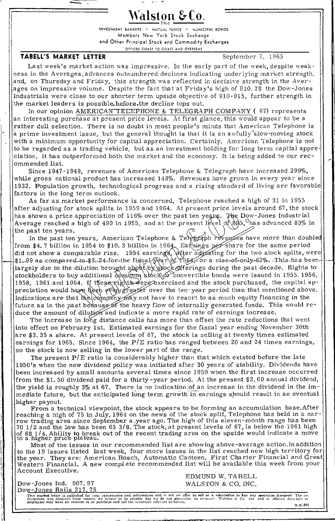 Tabell's Market Letter - September 07, 1965