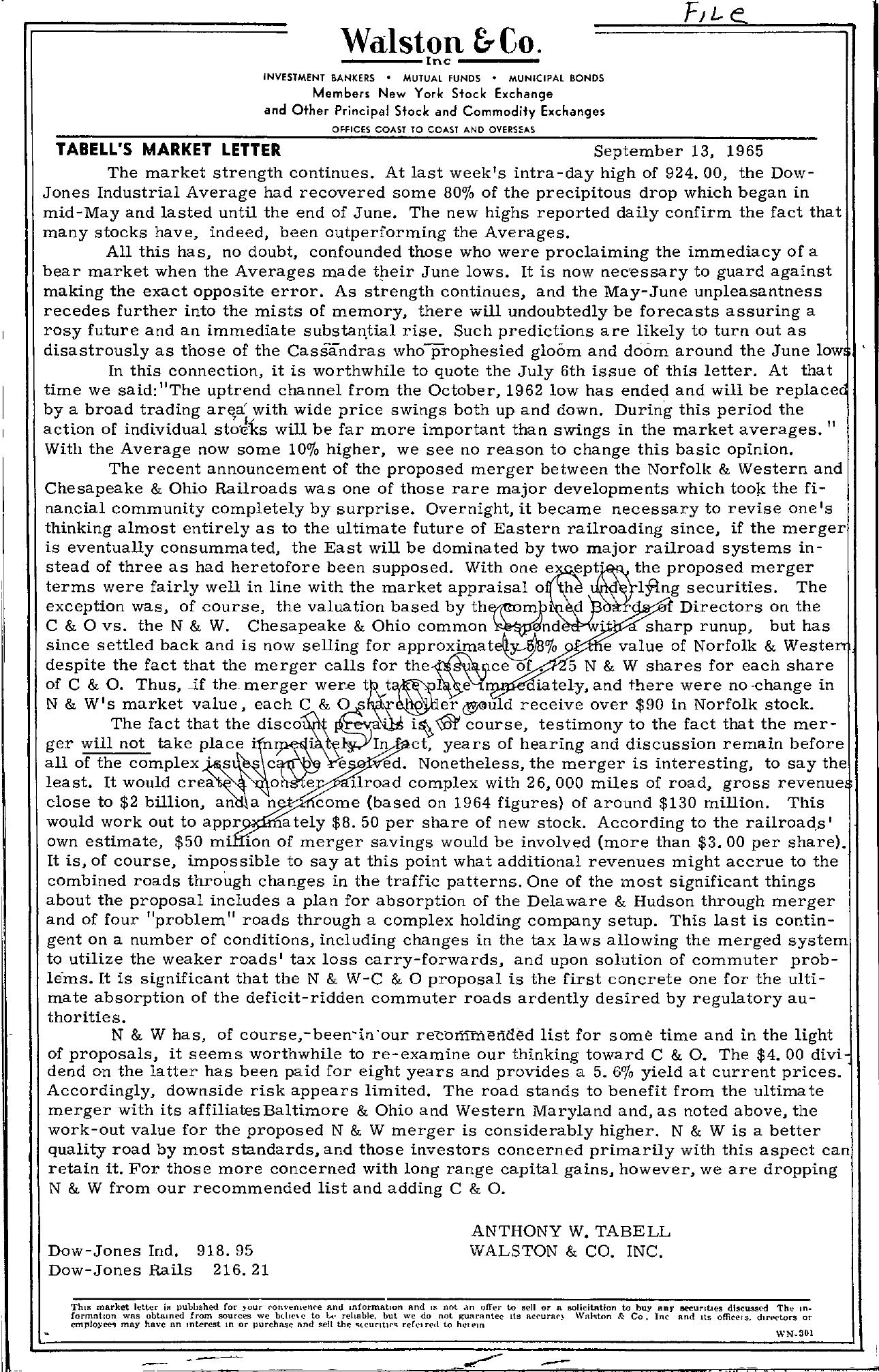 Tabell's Market Letter - September 13, 1965