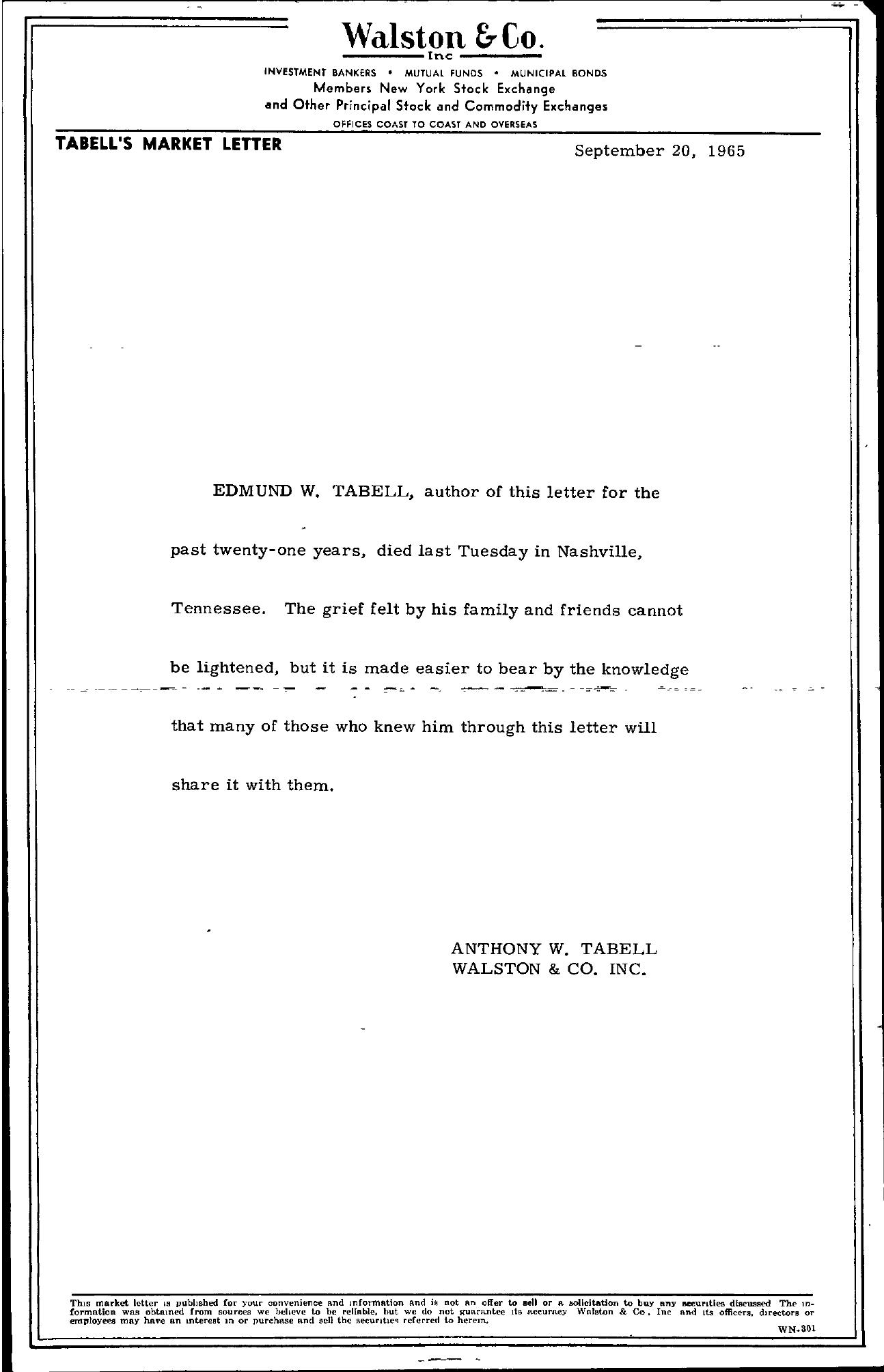 Tabell's Market Letter - September 20, 1965