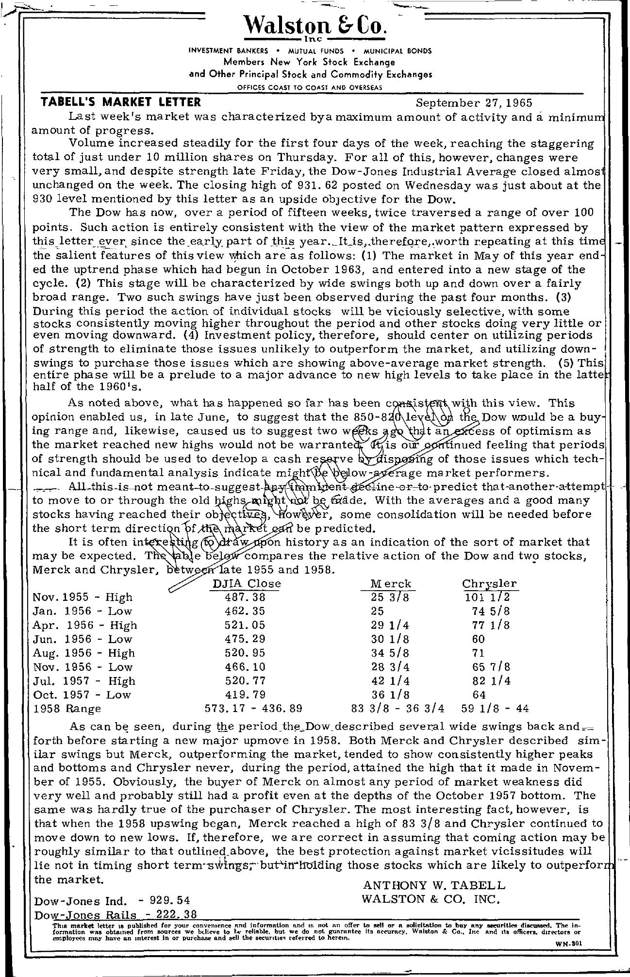 Tabell's Market Letter - September 27, 1965