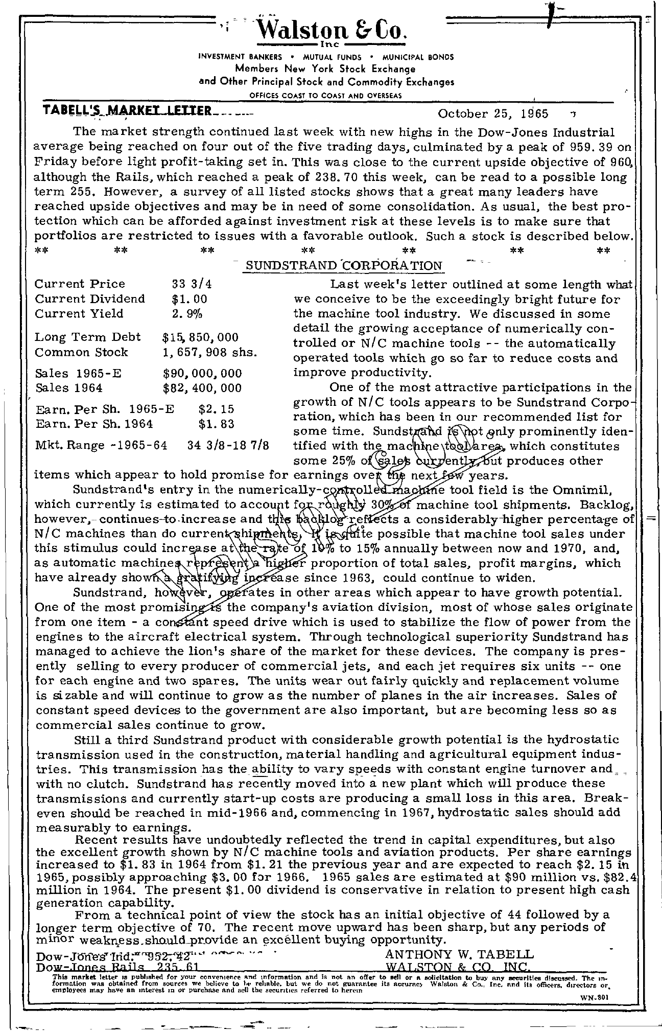 Tabell's Market Letter - October 25, 1965