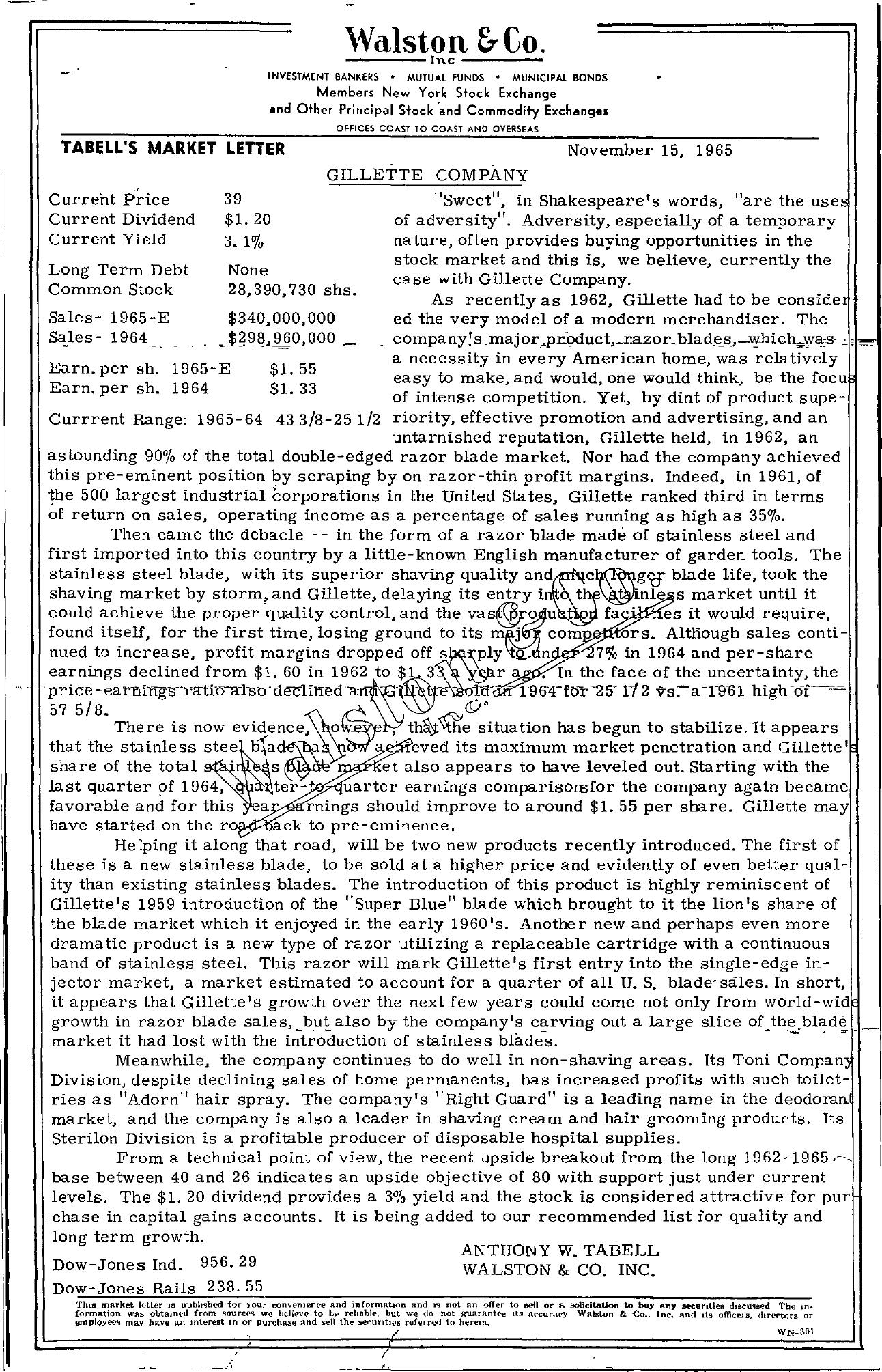 Tabell's Market Letter - November 15, 1965