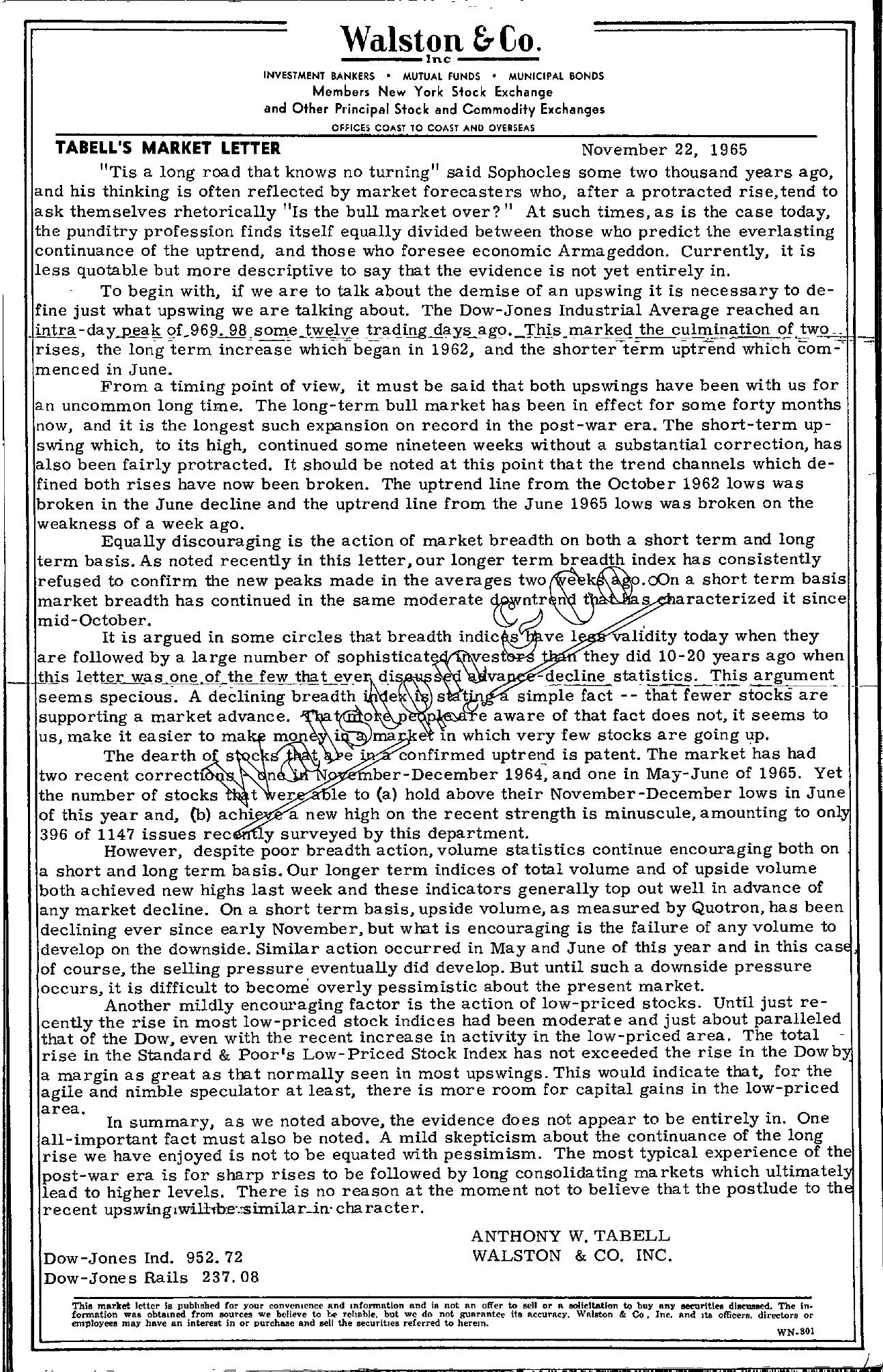 Tabell's Market Letter - November 22, 1965