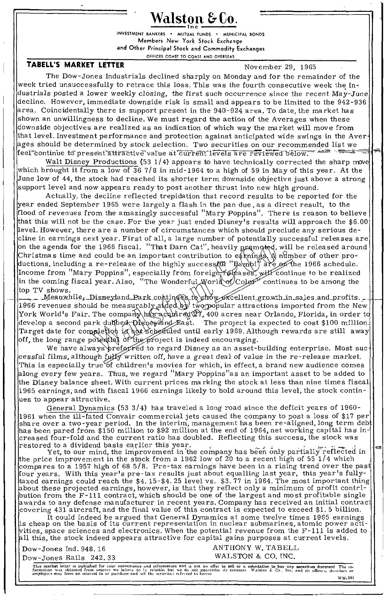 Tabell's Market Letter - November 29, 1965
