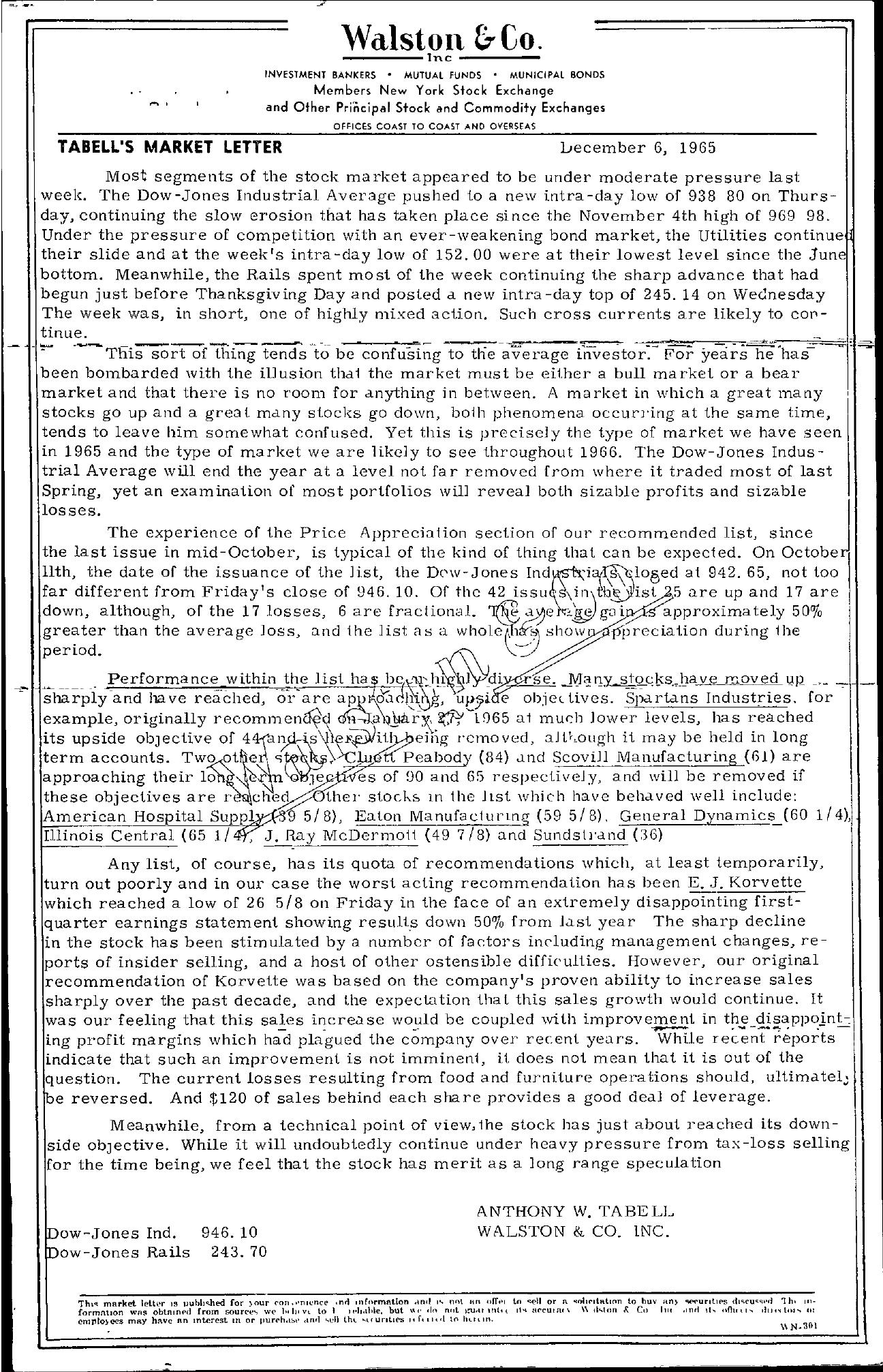 Tabell's Market Letter - December 06, 1965