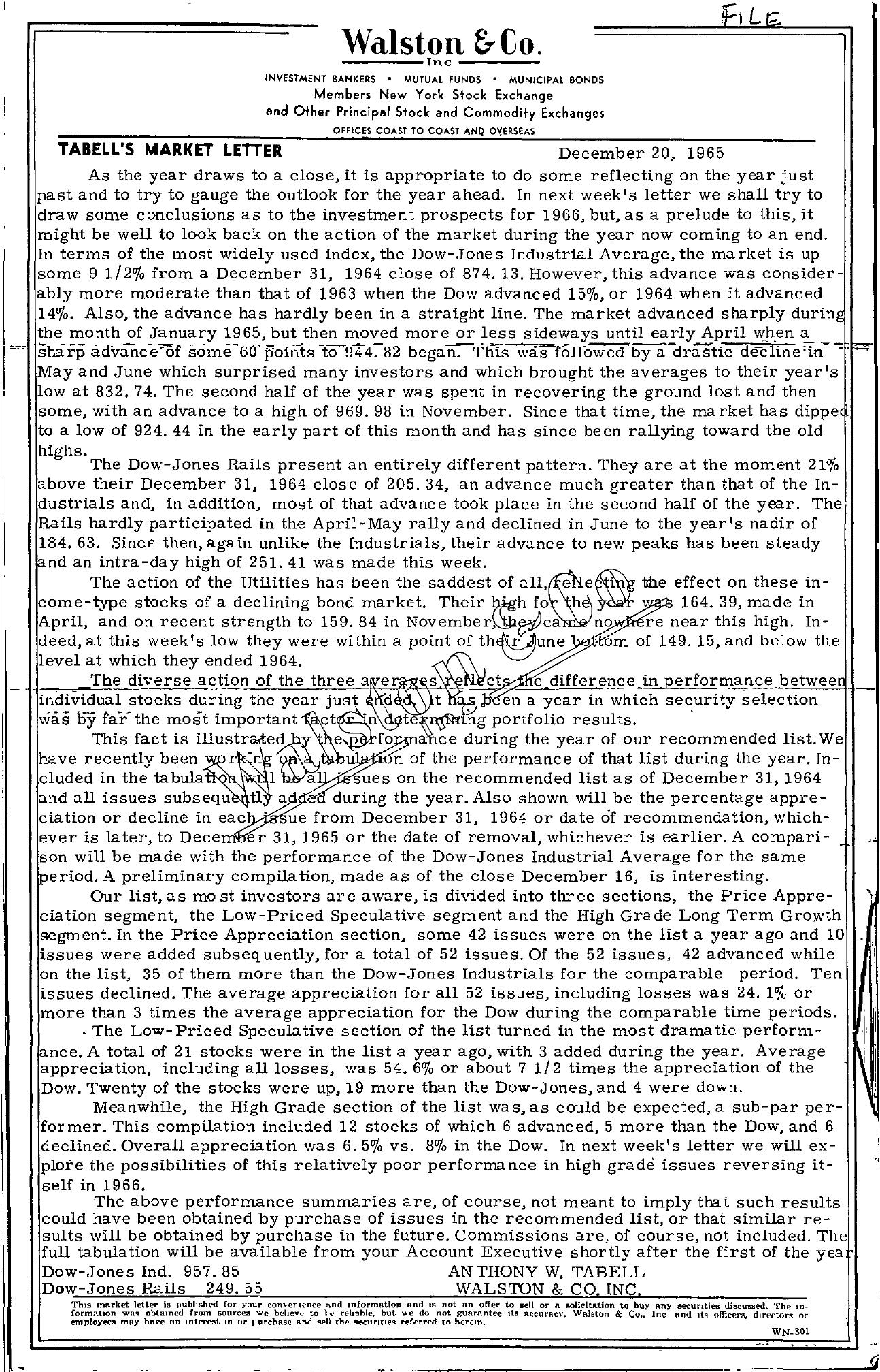 Tabell's Market Letter - December 20, 1965