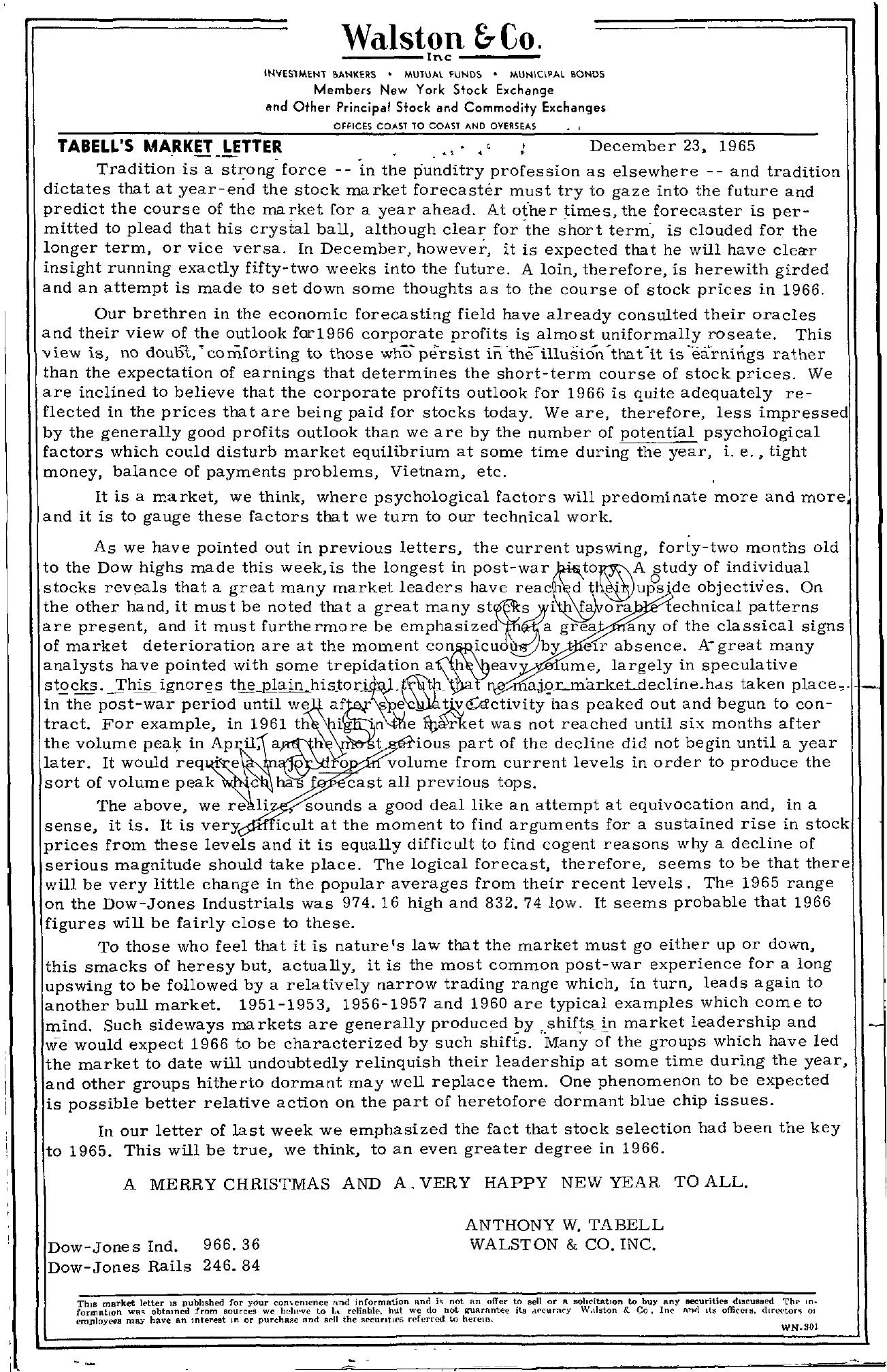 Tabell's Market Letter - December 23, 1965