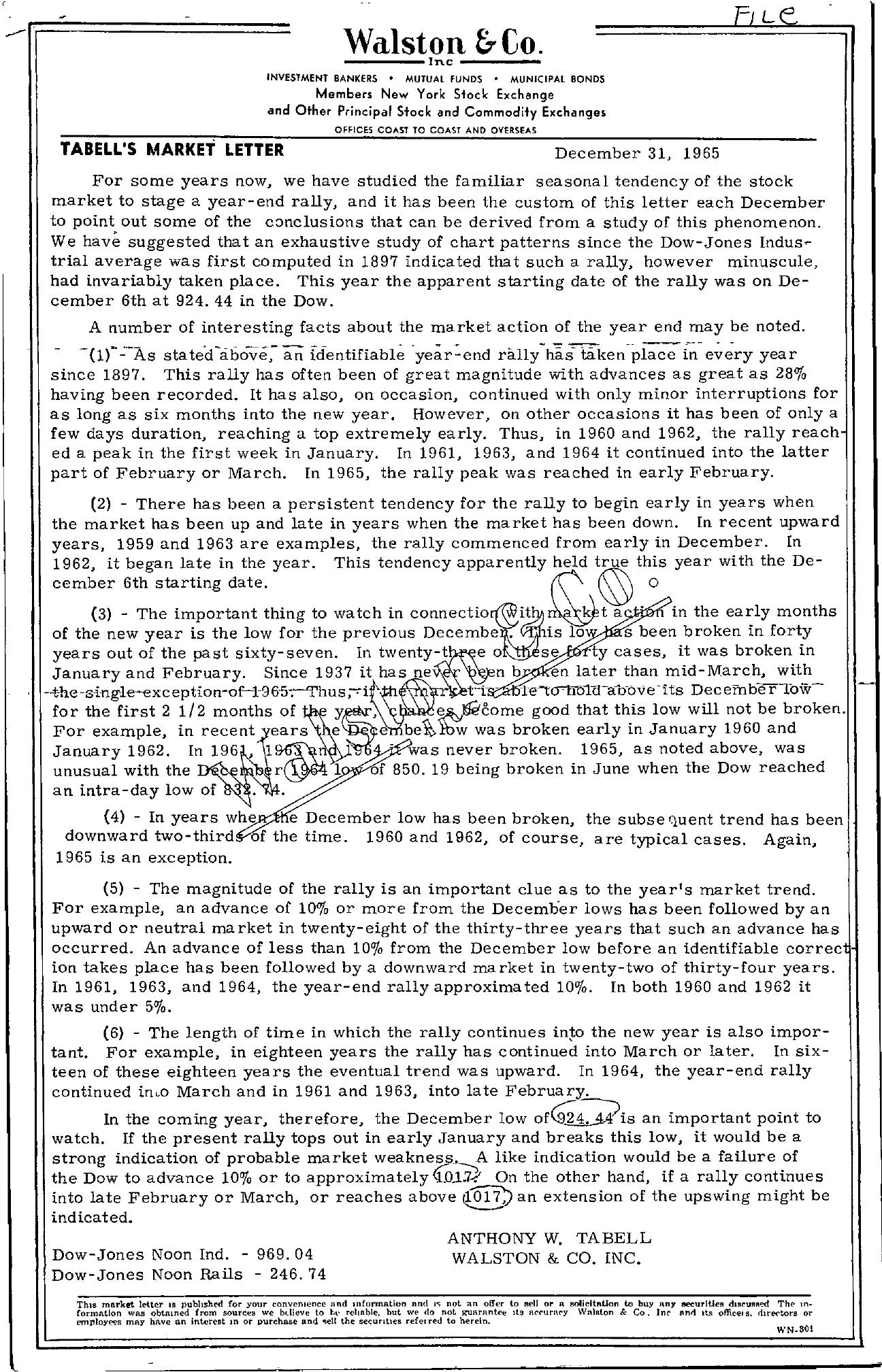 Tabell's Market Letter - December 31, 1965