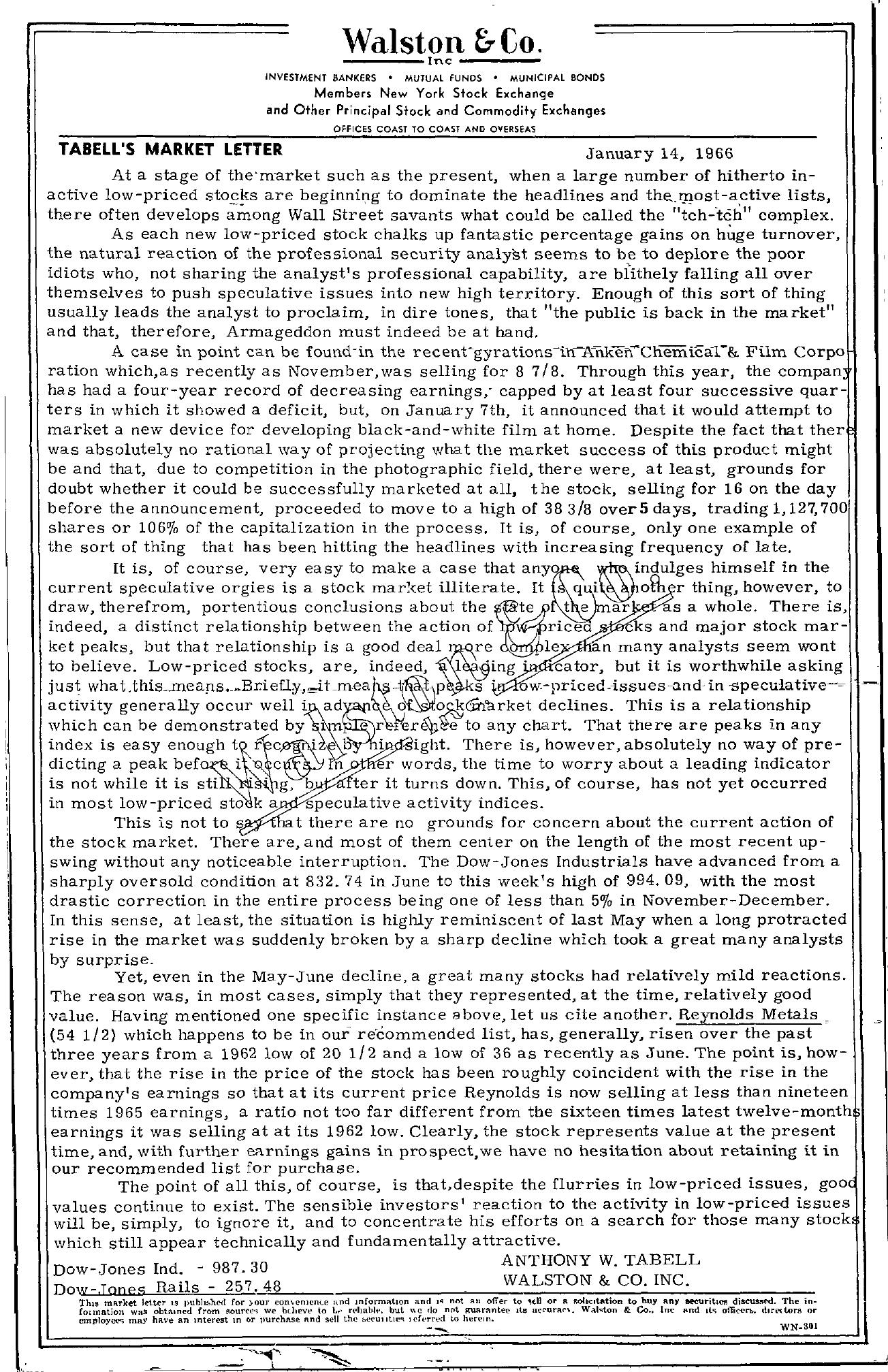Tabell's Market Letter - January 14, 1966