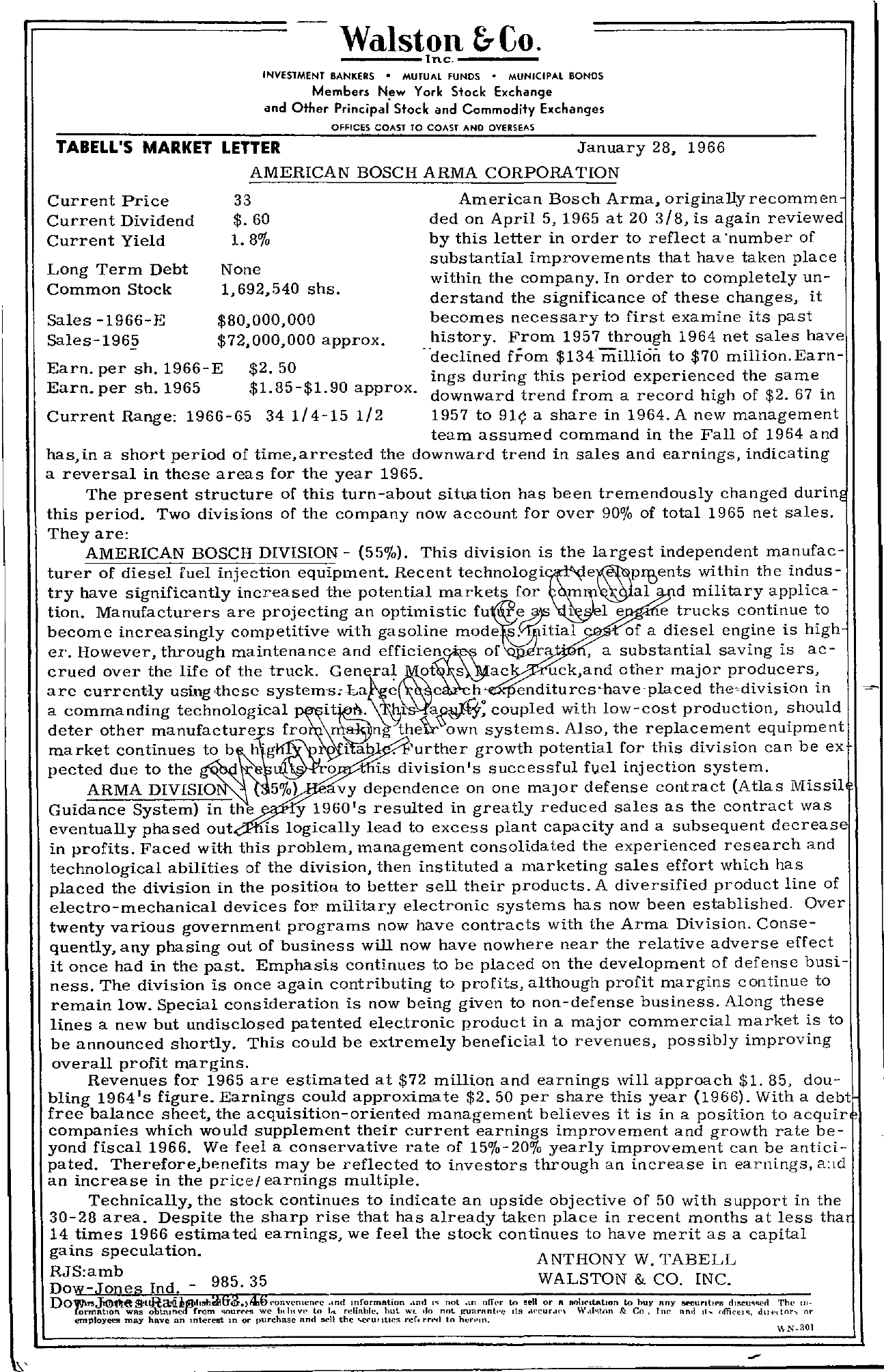 Tabell's Market Letter - January 28, 1966