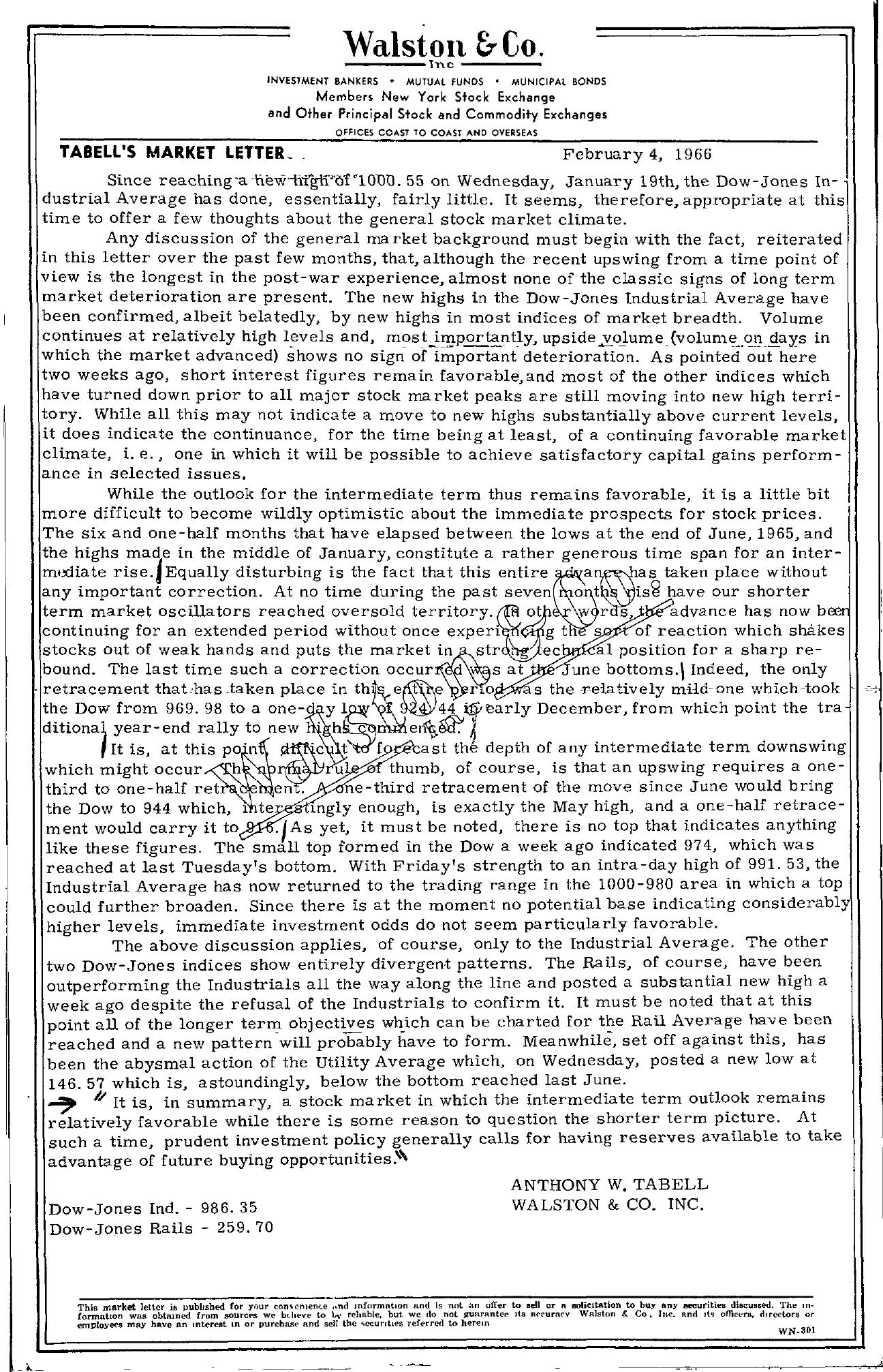 Tabell's Market Letter - February 04, 1966