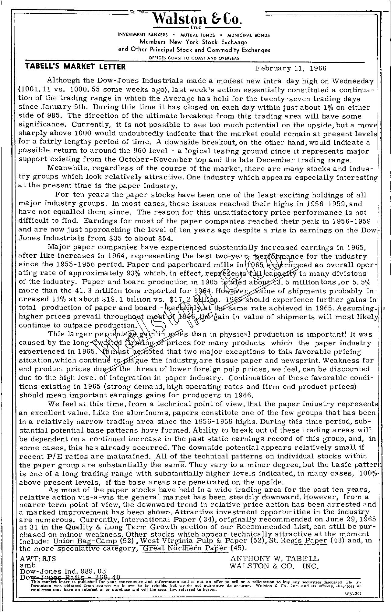 Tabell's Market Letter - February 11, 1966