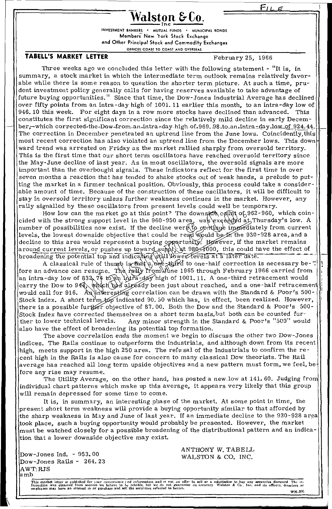 Tabell's Market Letter - February 25, 1966