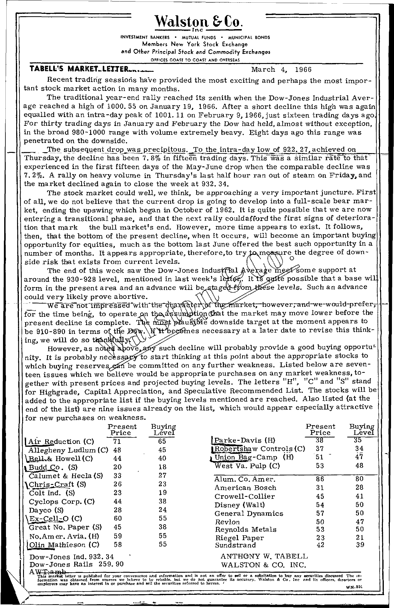 Tabell's Market Letter - March 04, 1966
