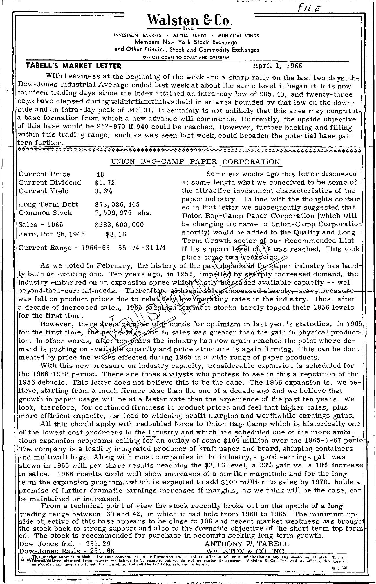 Tabell's Market Letter - April 01, 1966
