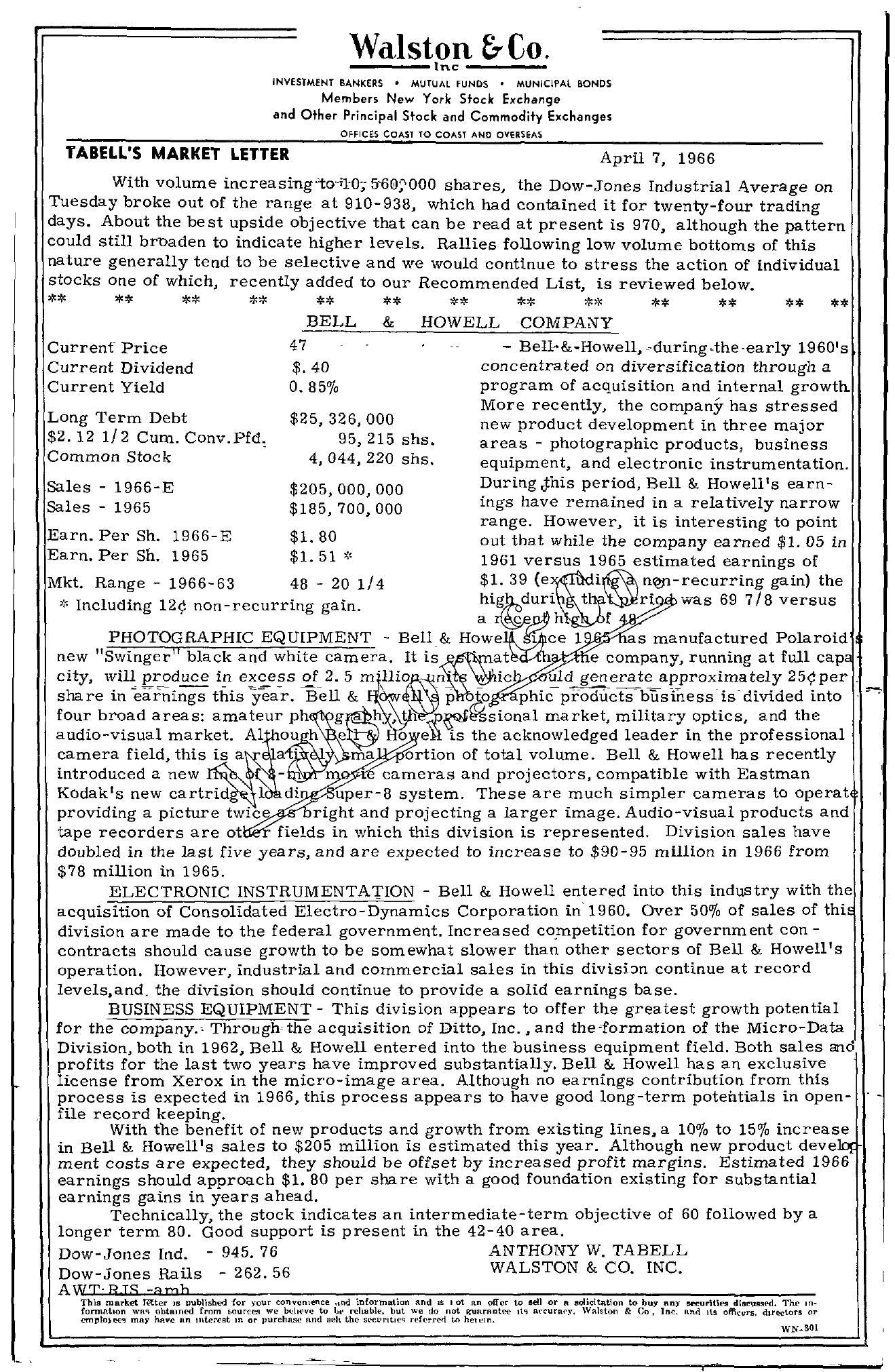 Tabell's Market Letter - April 07, 1966