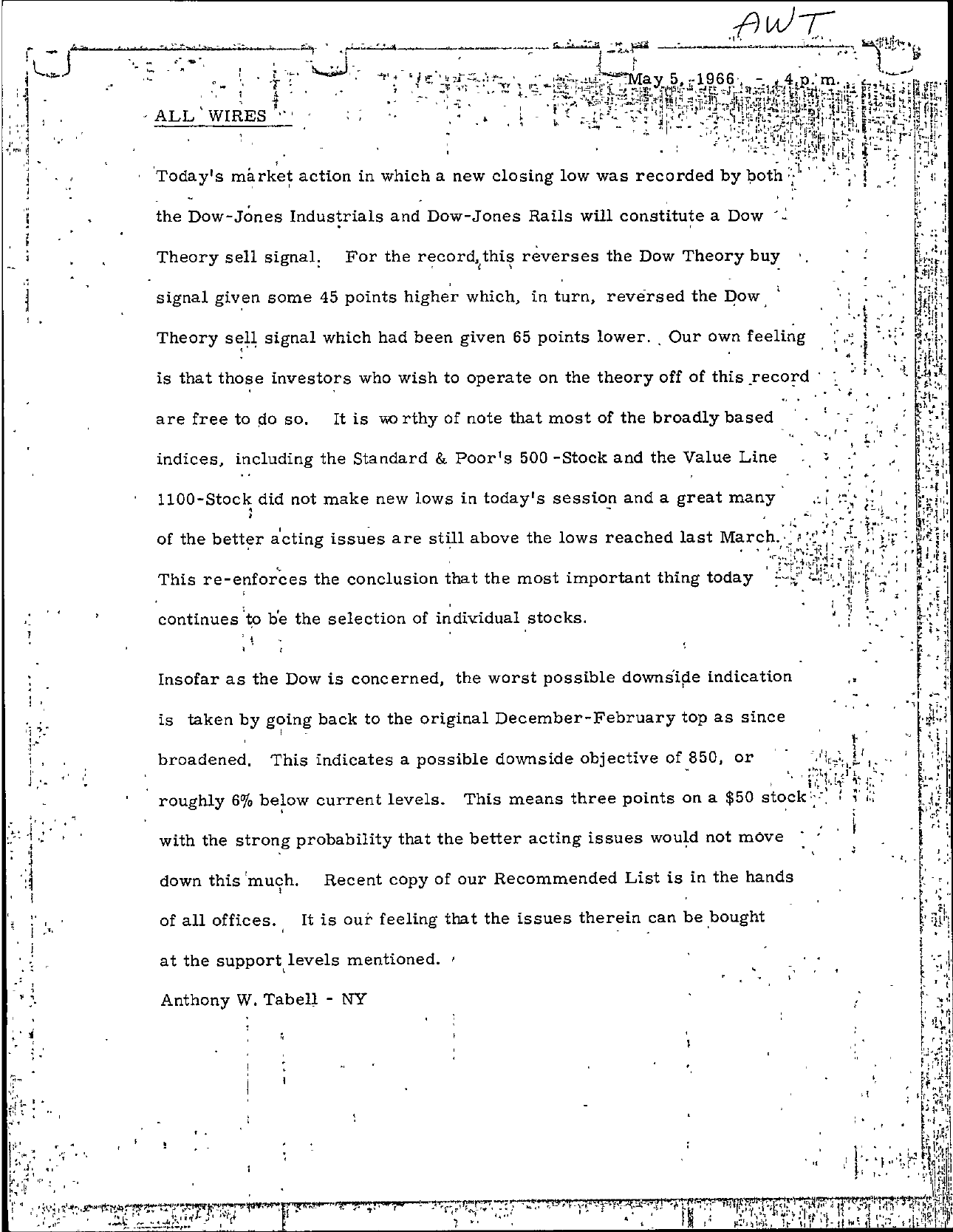 Tabell's Market Letter - May 05, 1966