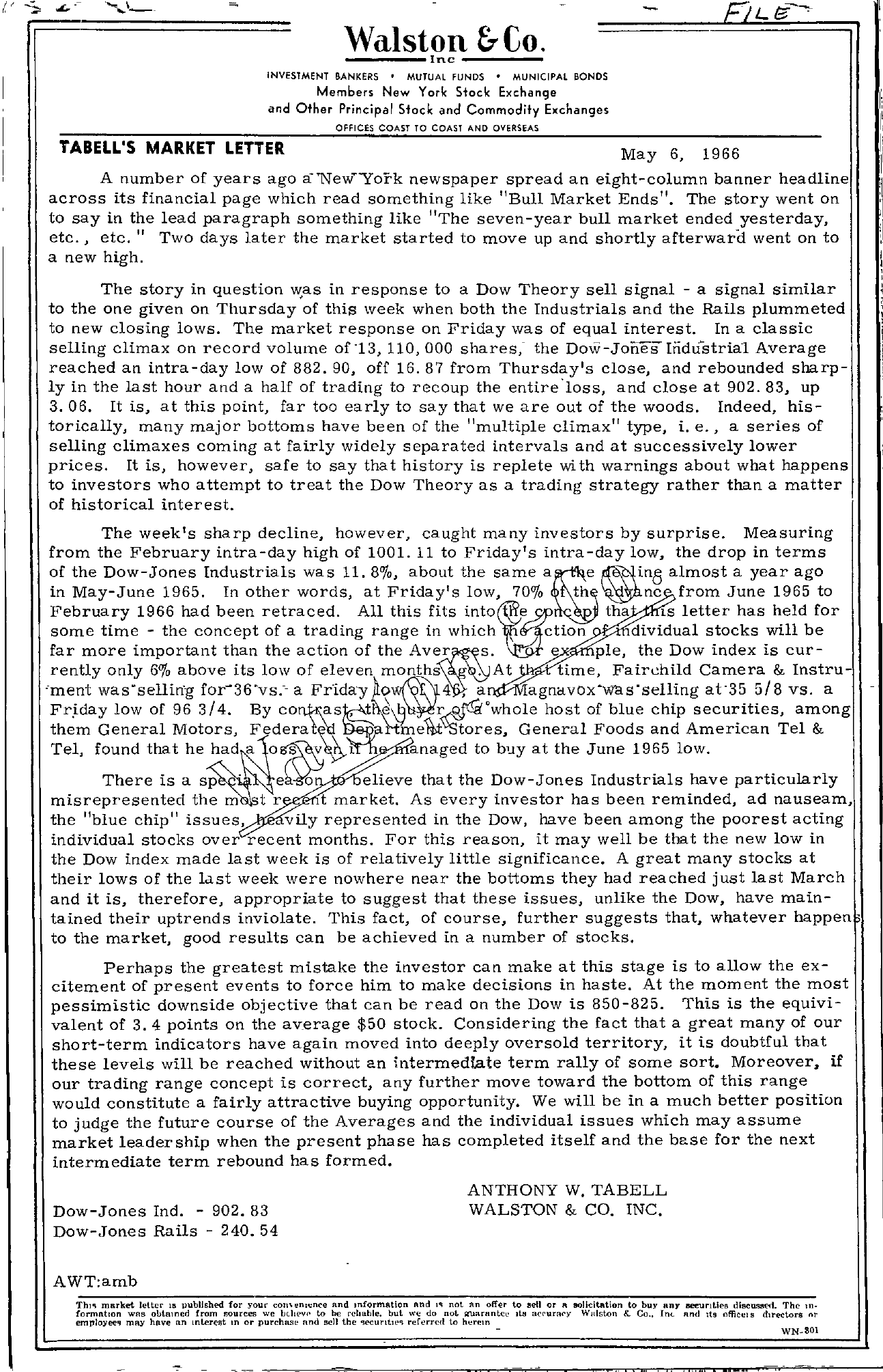 Tabell's Market Letter - May 06, 1966