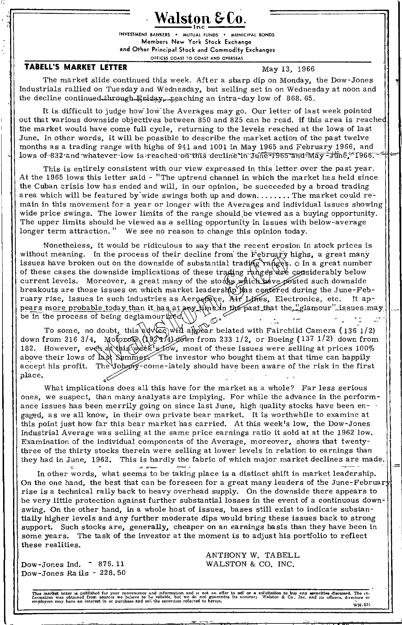 Tabell's Market Letter - May 13, 1966