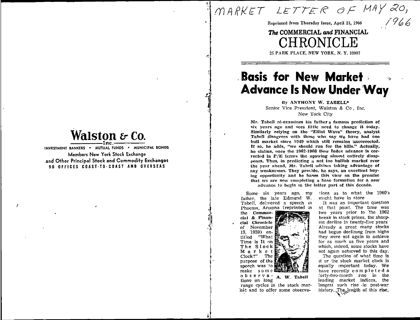Tabell's Market Letter - May 20, 1966 page 1