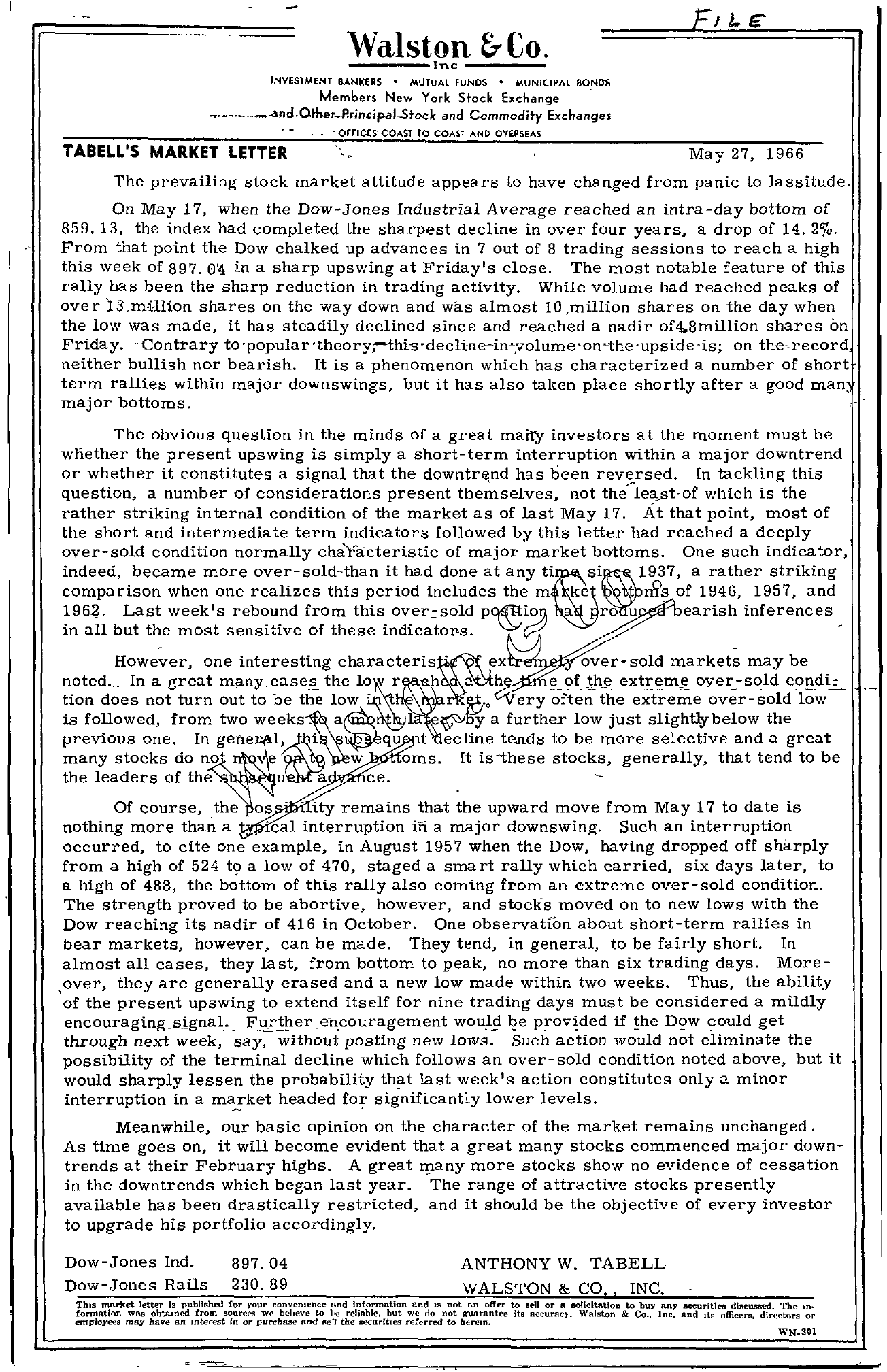 Tabell's Market Letter - May 27, 1966