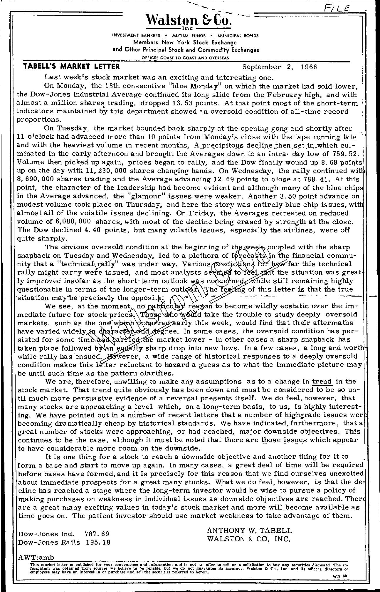Tabell's Market Letter - September 02, 1966