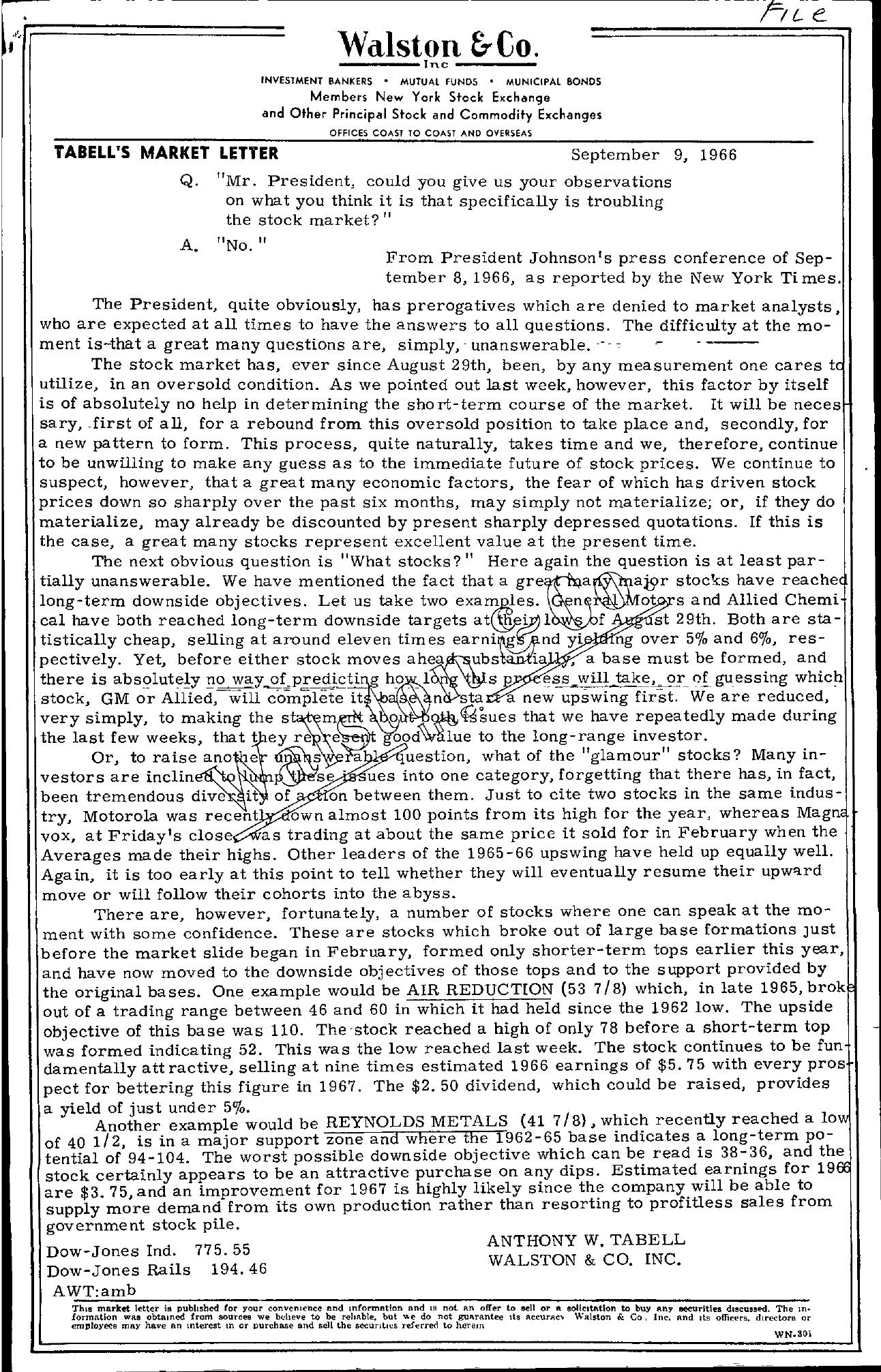 Tabell's Market Letter - September 09, 1966