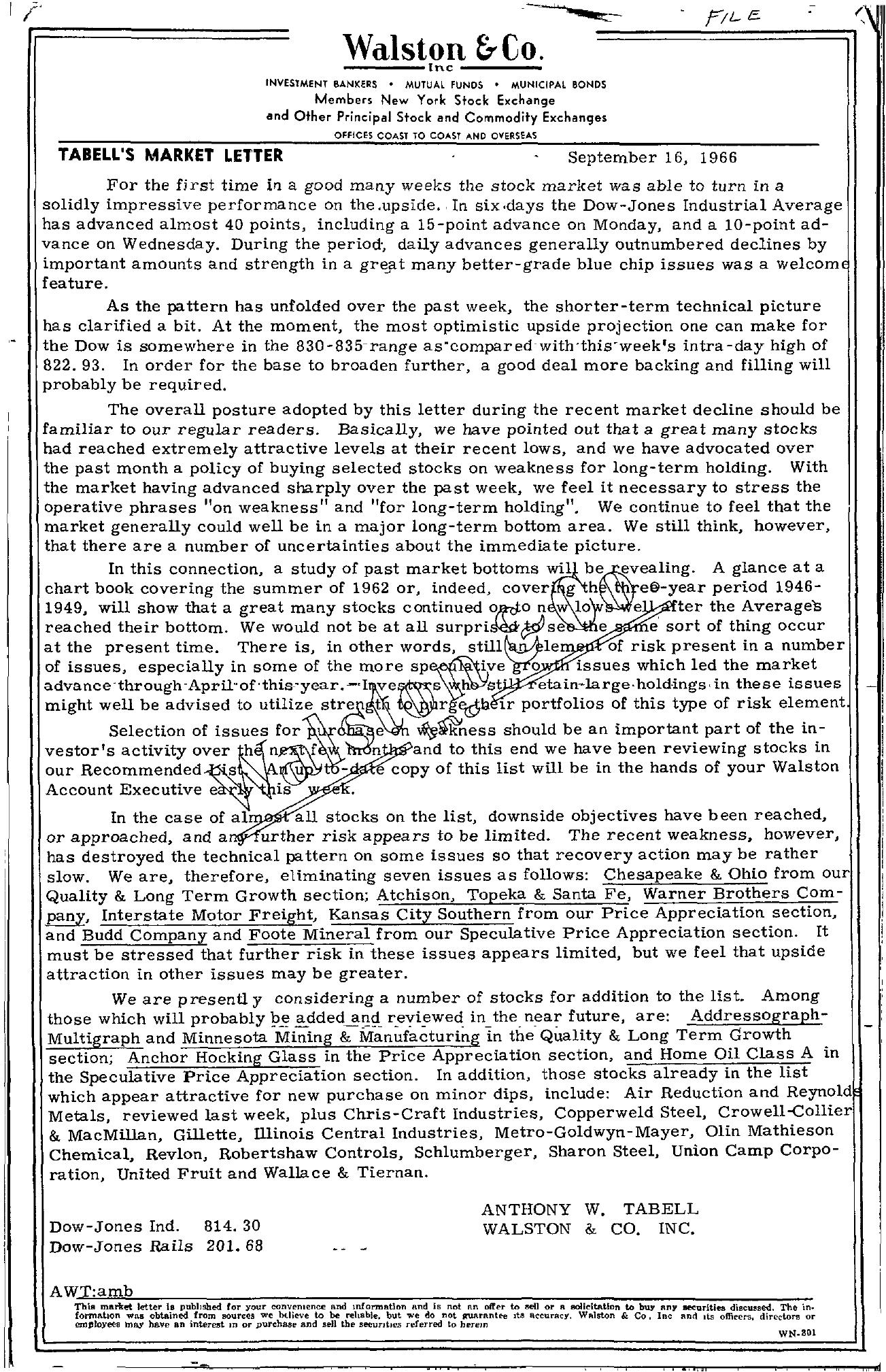 Tabell's Market Letter - September 16, 1966