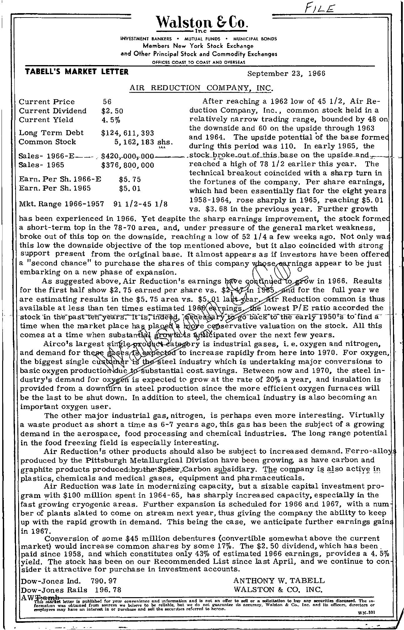 Tabell's Market Letter - September 23, 1966