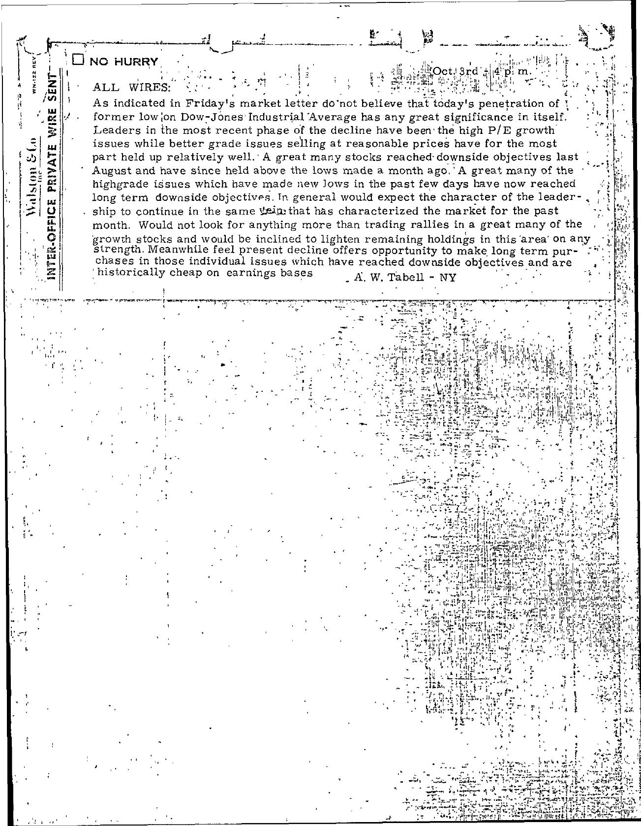 Tabell's Market Letter - October 03, 1966