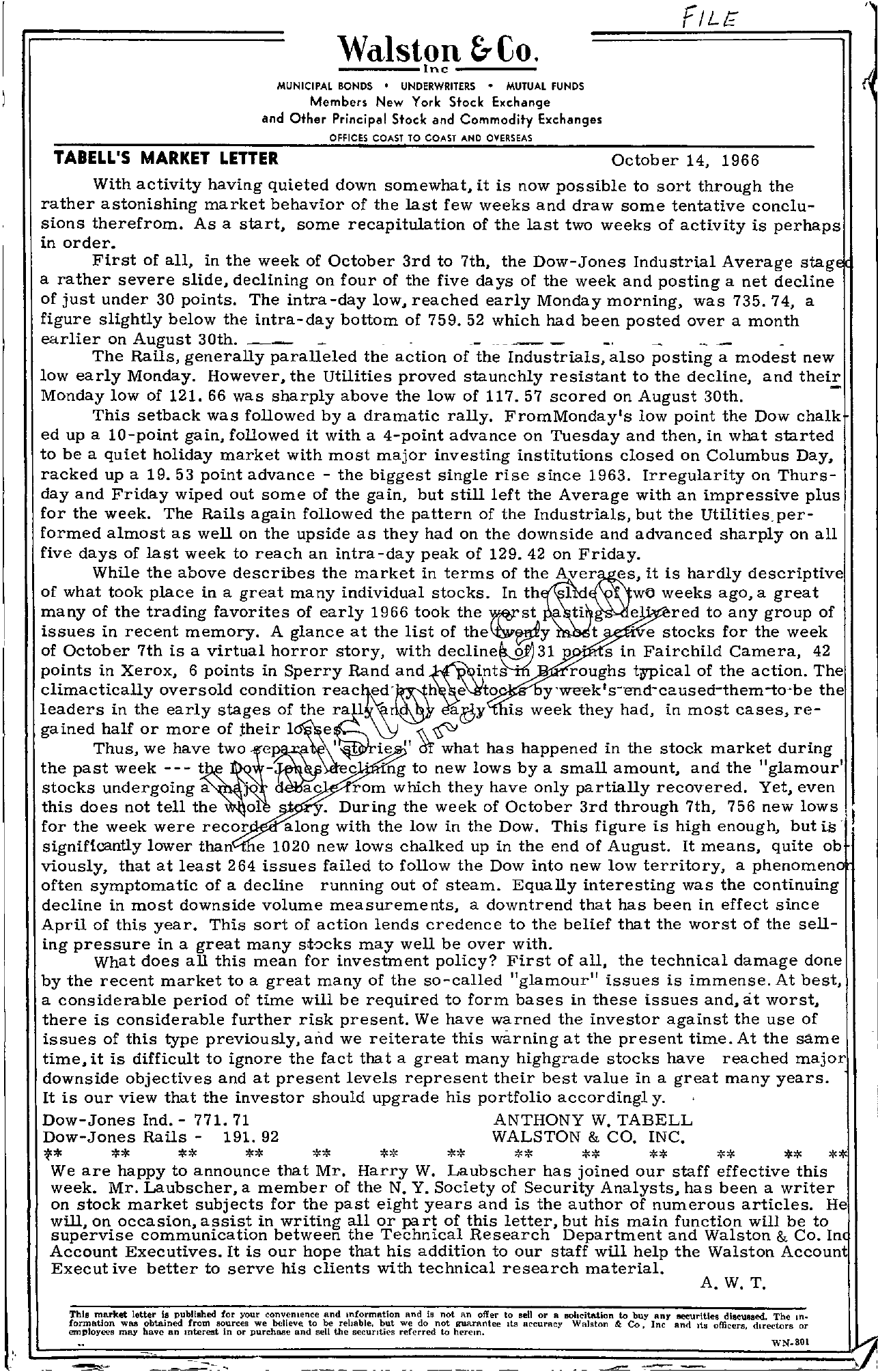 Tabell's Market Letter - October 14, 1966