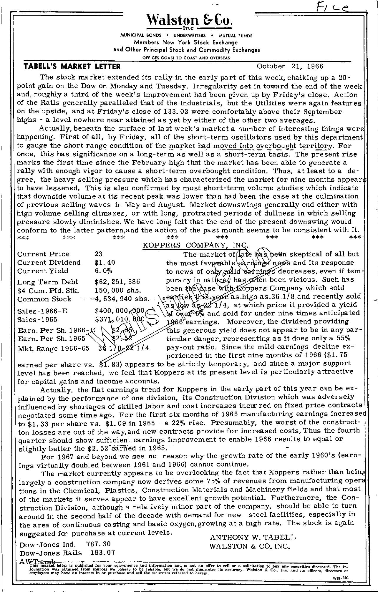 Tabell's Market Letter - October 21, 1966