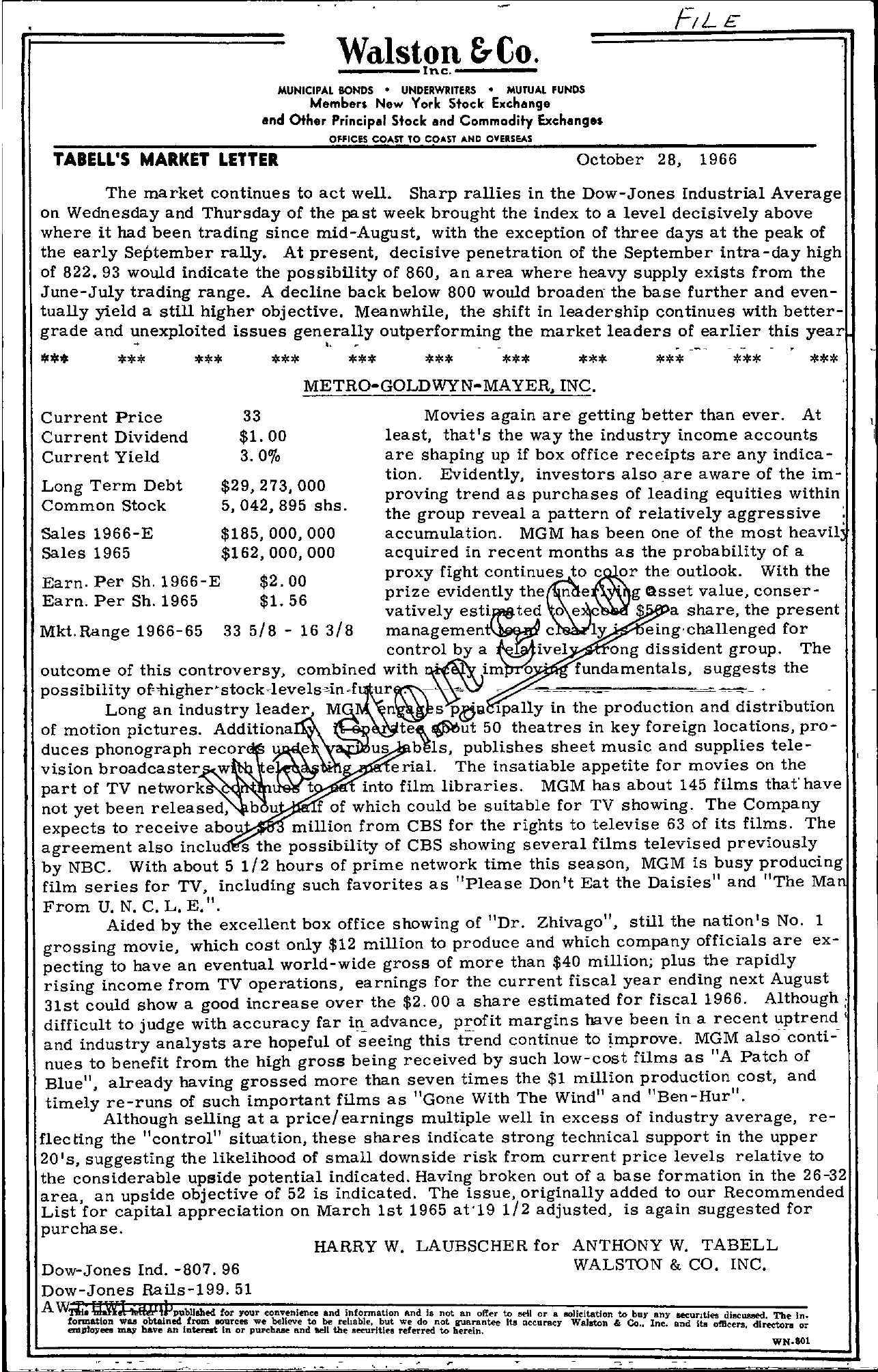 Tabell's Market Letter - October 28, 1966