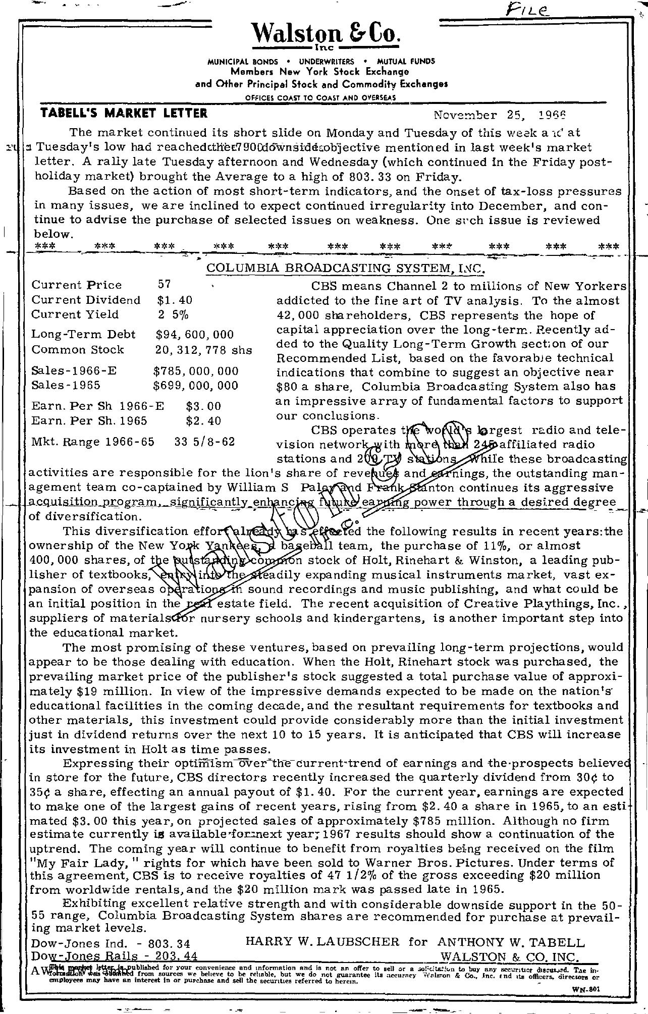 Tabell's Market Letter - November 25, 1966