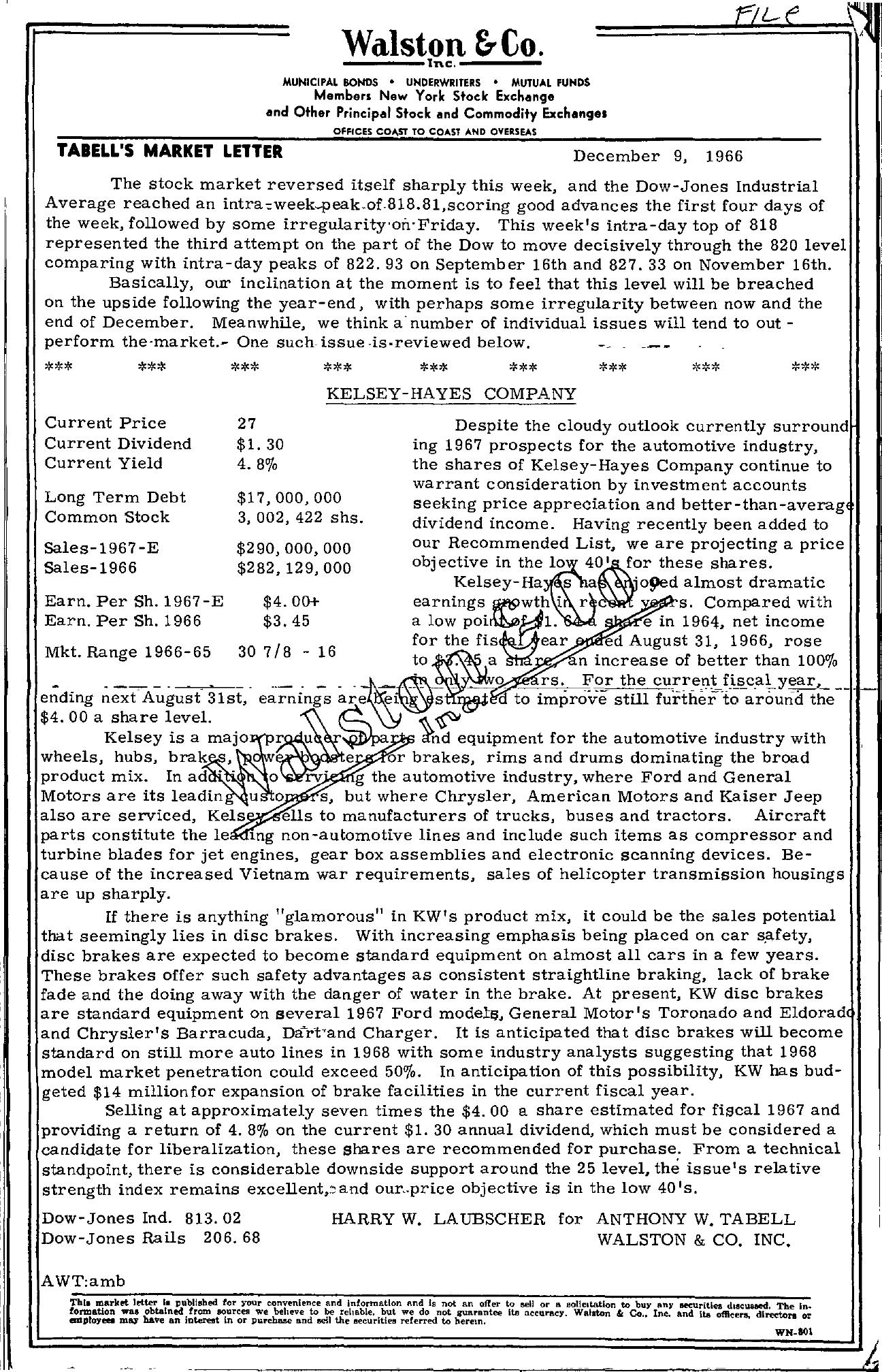 Tabell's Market Letter - December 09, 1966