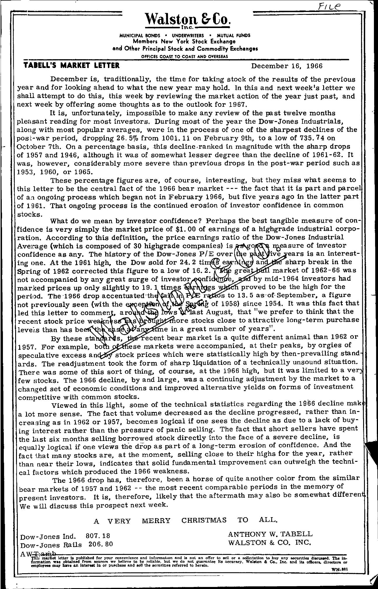 Tabell's Market Letter - December 16, 1966