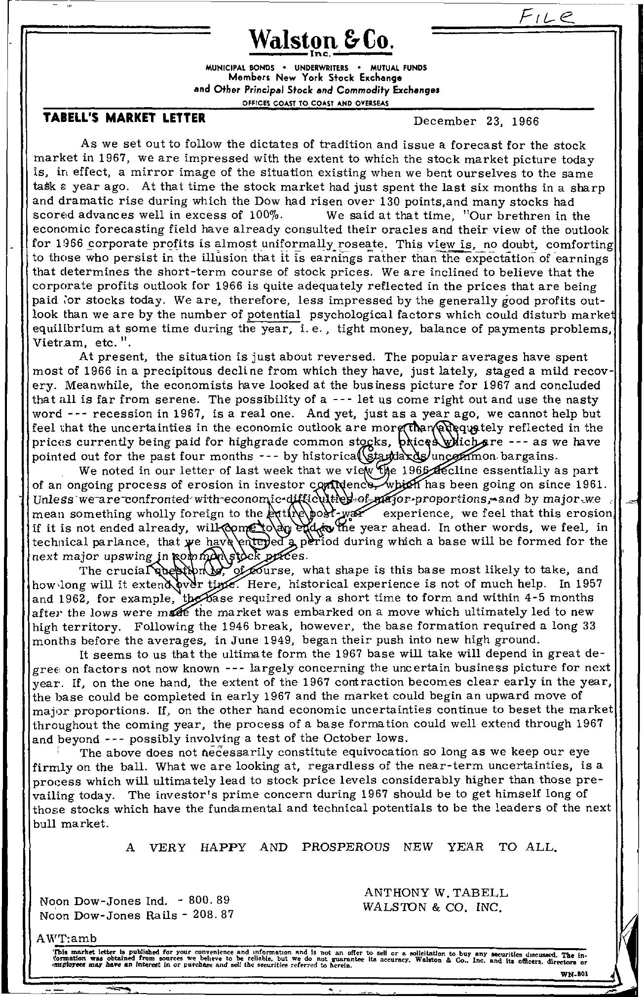 Tabell's Market Letter - December 23, 1966
