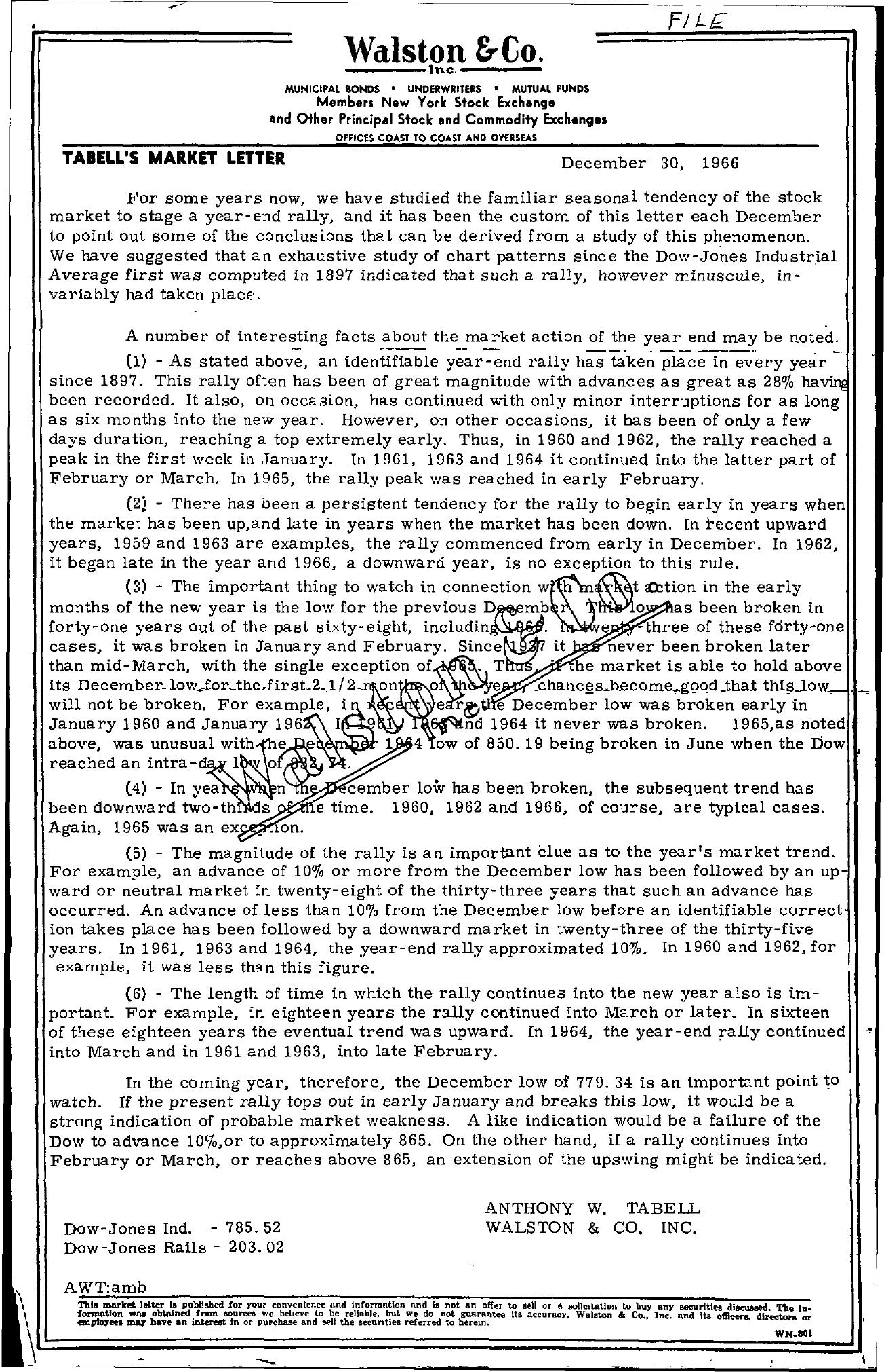 Tabell's Market Letter - December 30, 1966