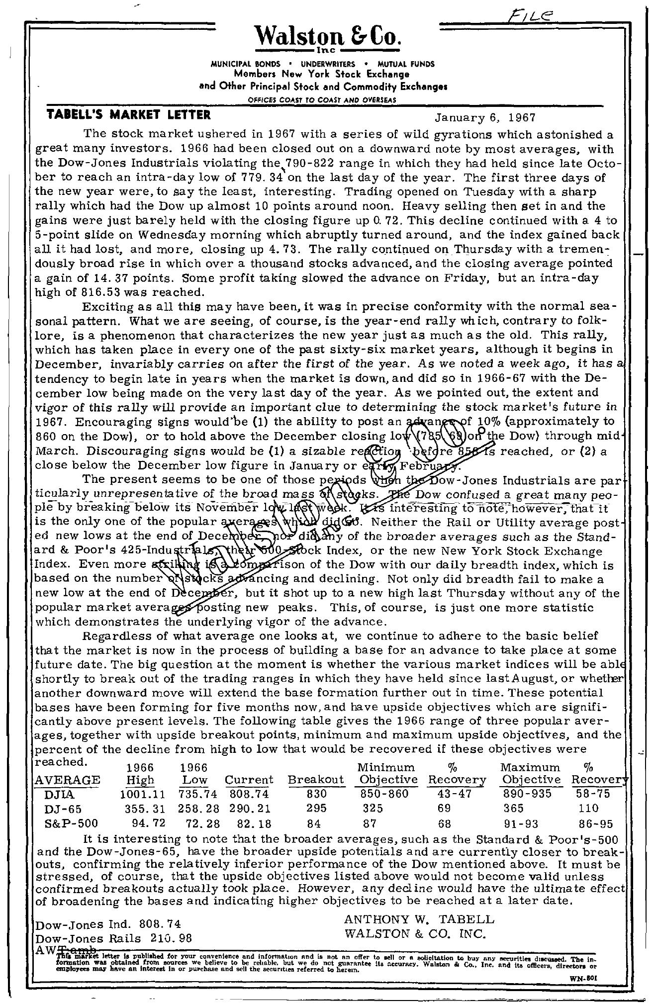 Tabell's Market Letter - January 06, 1967