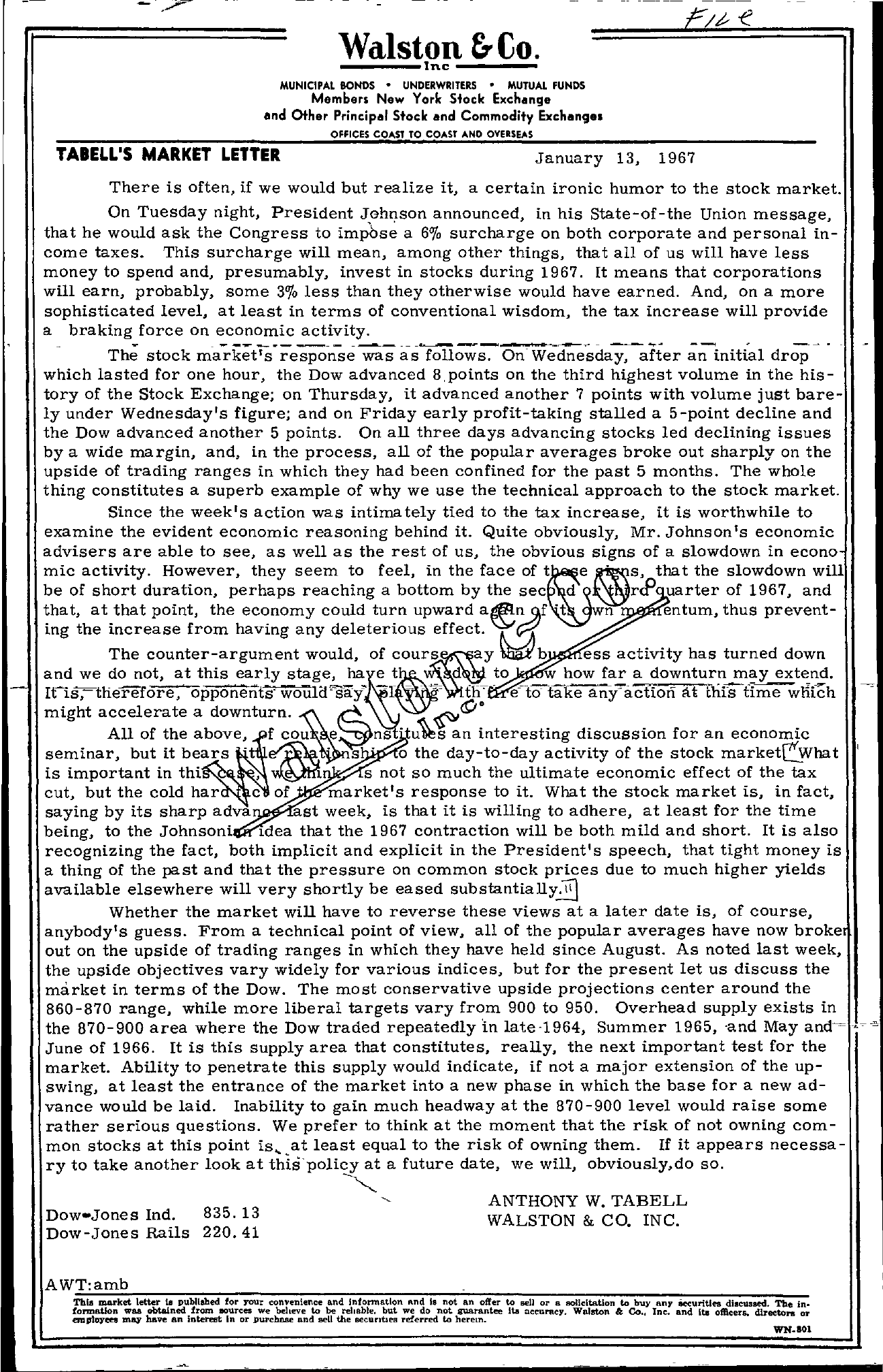 Tabell's Market Letter - January 13, 1967