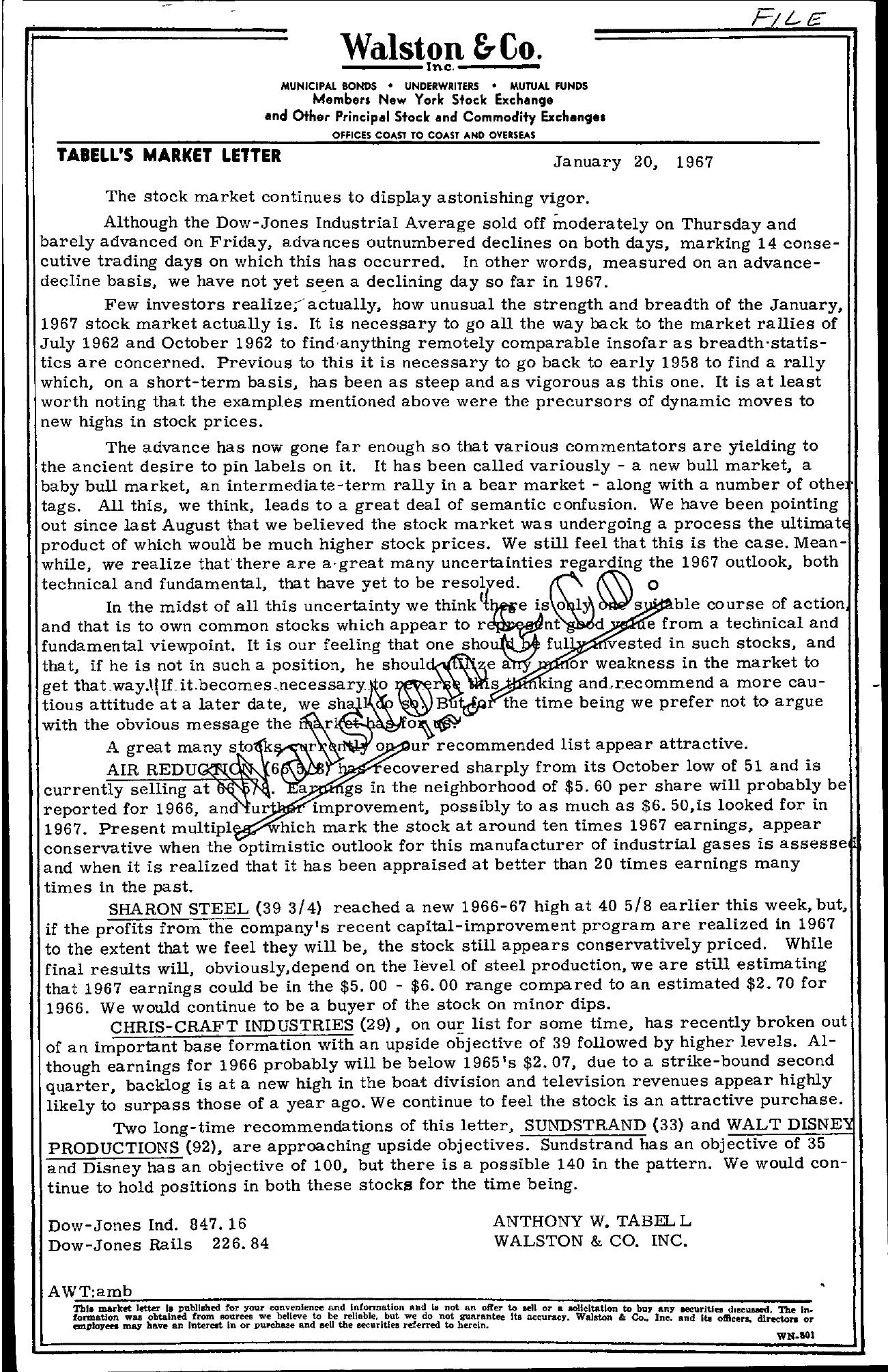 Tabell's Market Letter - January 20, 1967