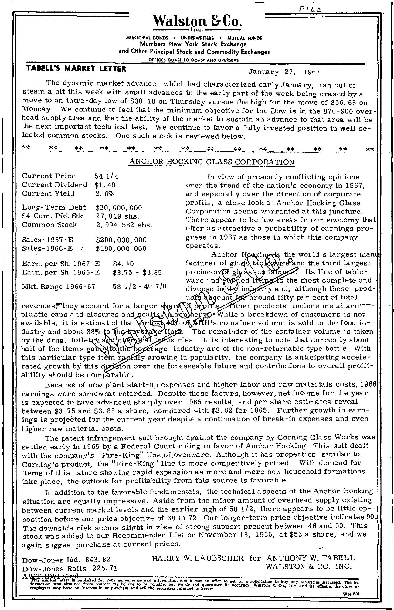 Tabell's Market Letter - January 27, 1967