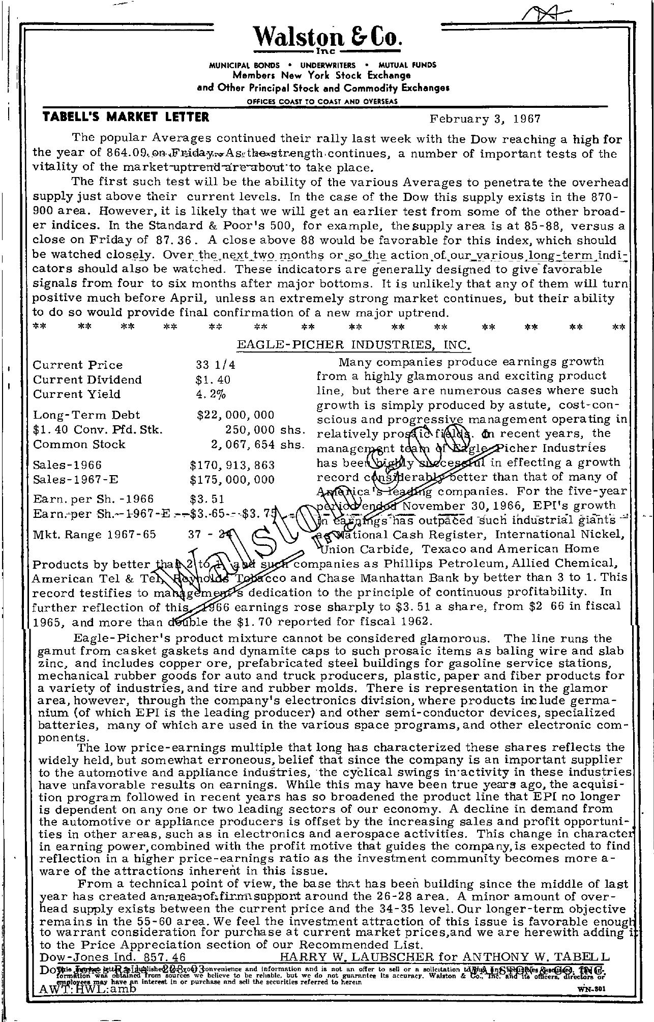 Tabell's Market Letter - February 03, 1967