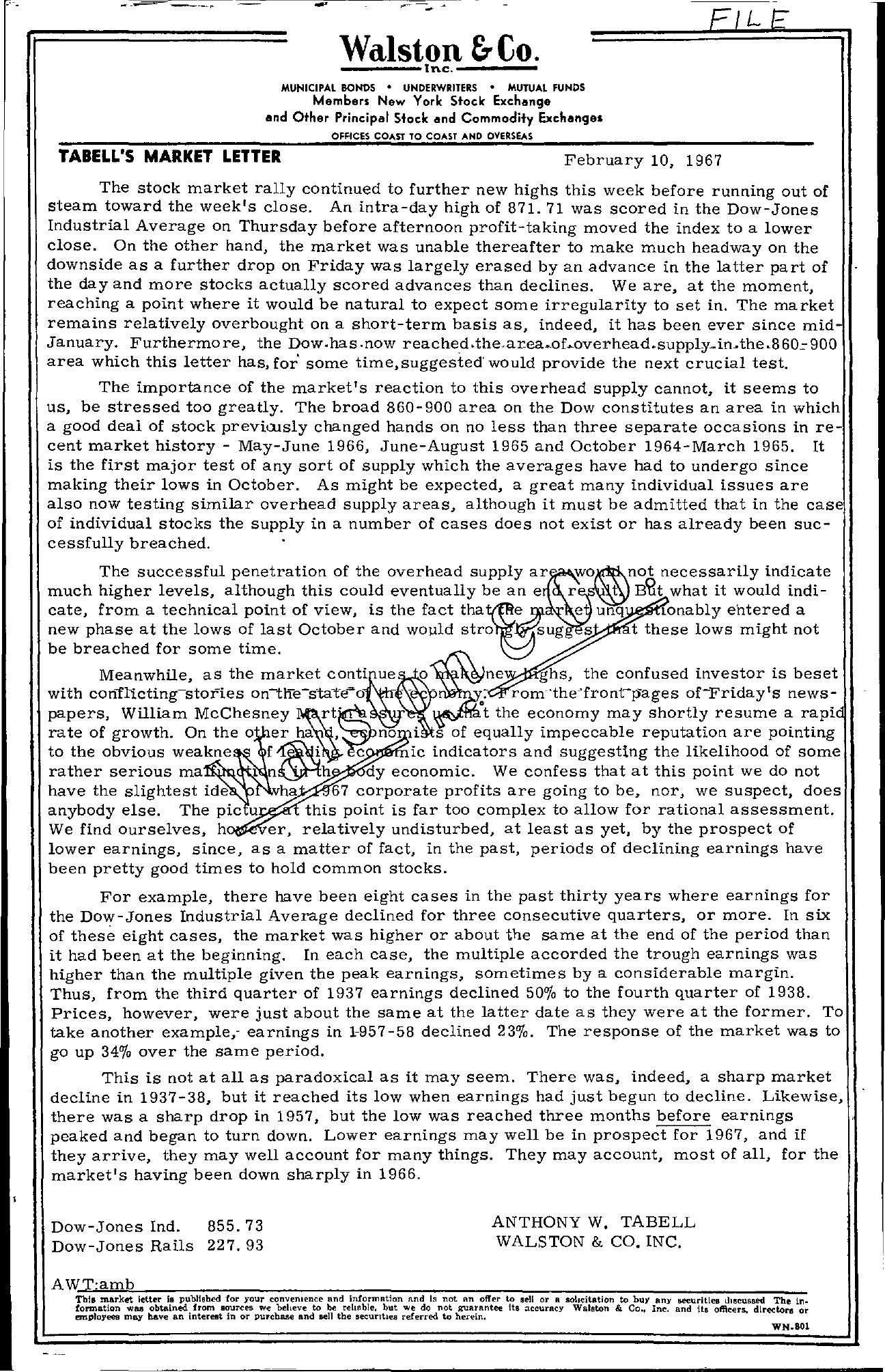 Tabell's Market Letter - February 10, 1967