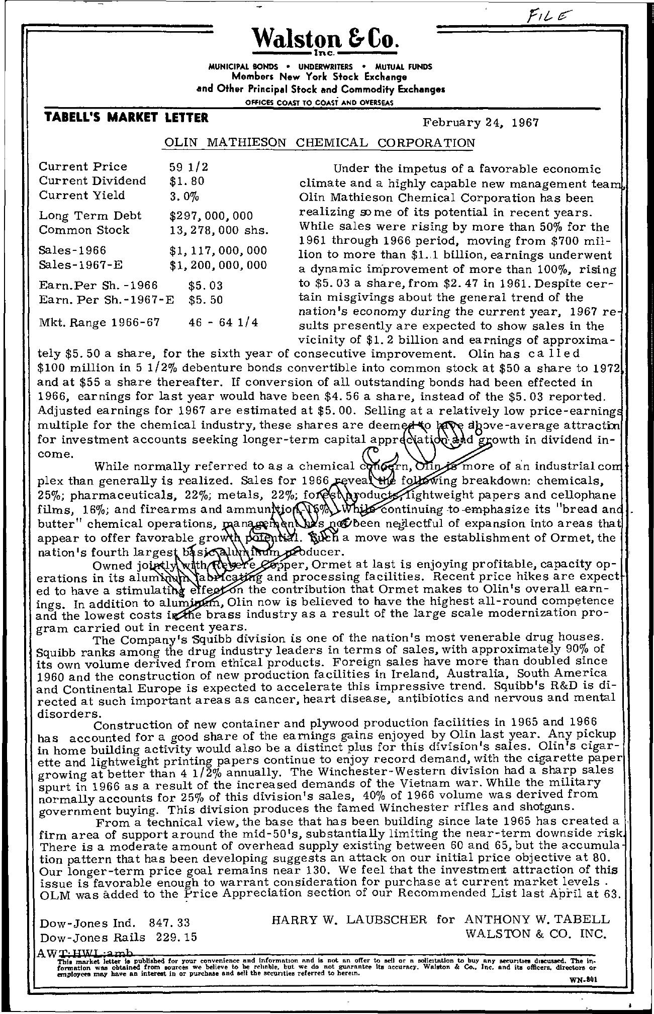 Tabell's Market Letter - February 24, 1967